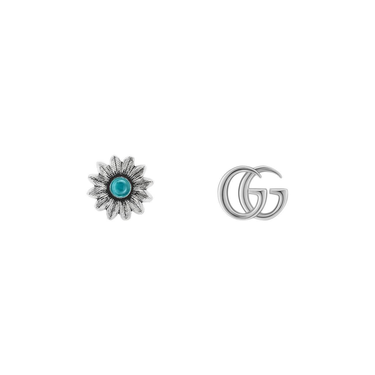 c6d8f01e3 Lyst - Gucci Double G Flower Stud Earrings in Blue