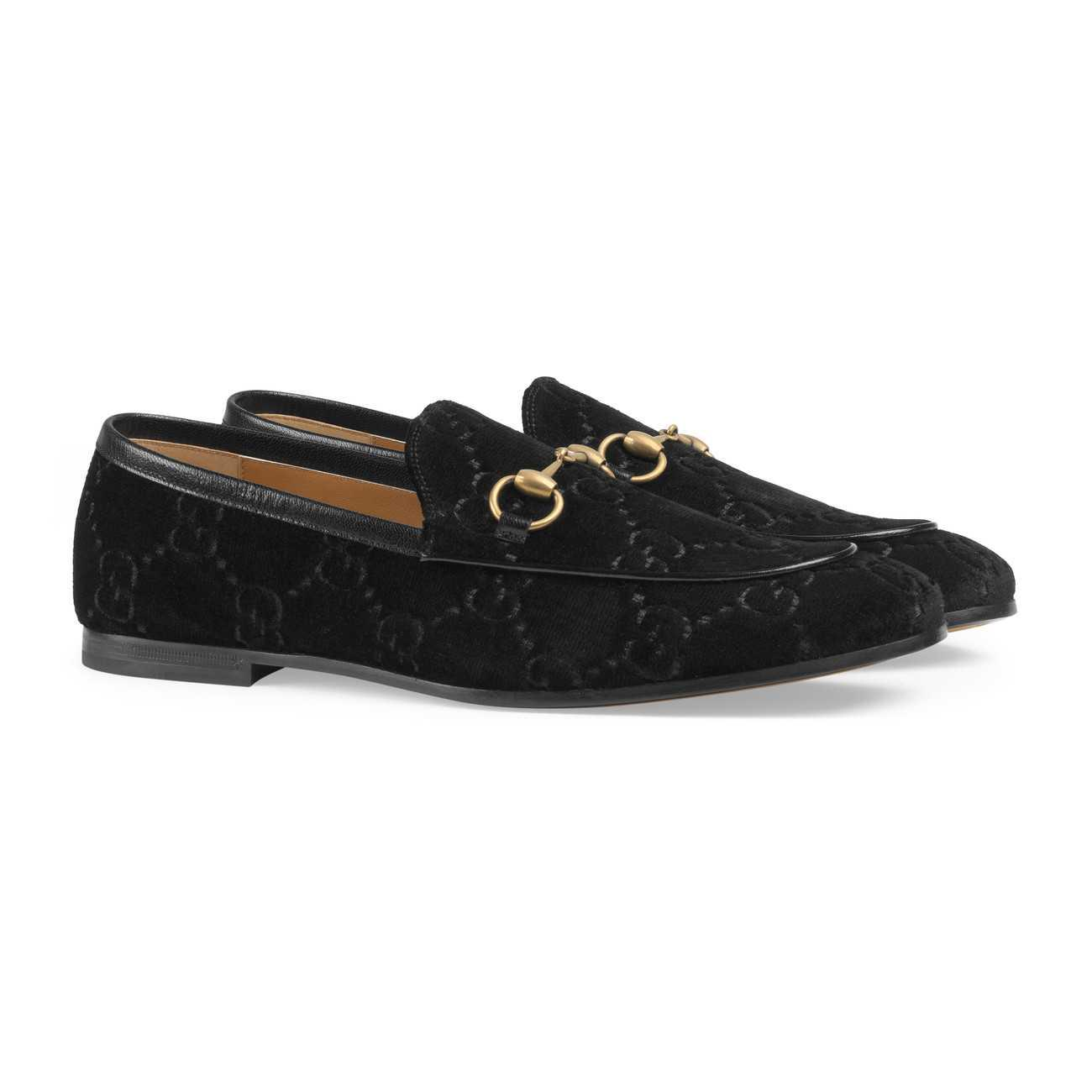 e56b1254fb8 Gucci - Black Jordaan Gg Velvet Loafer for Men - Lyst. View fullscreen