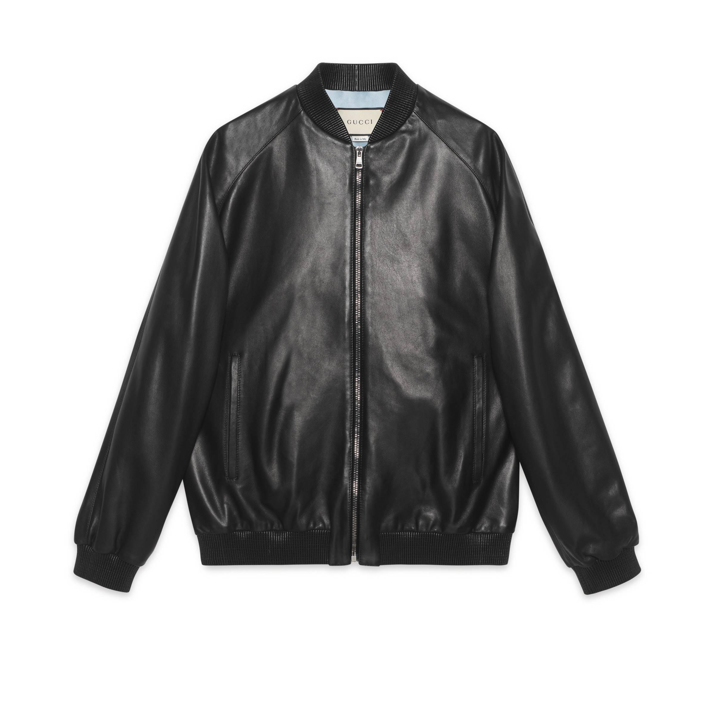 1a1603d39 Gucci Leather Bomber With Paramount Logo in Black - Lyst