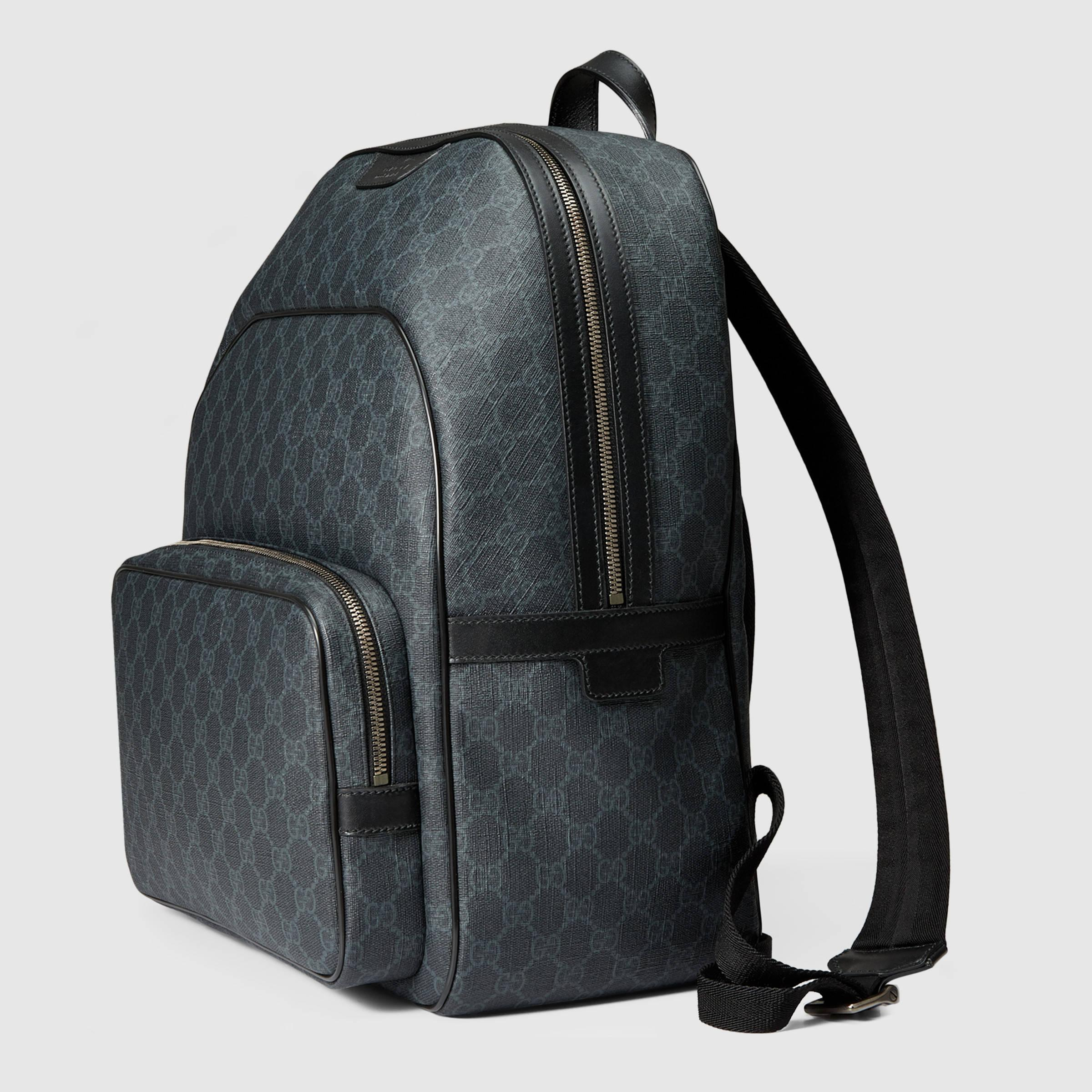Gucci Gg Supreme Canvas Backpack in Black for Men | Lyst