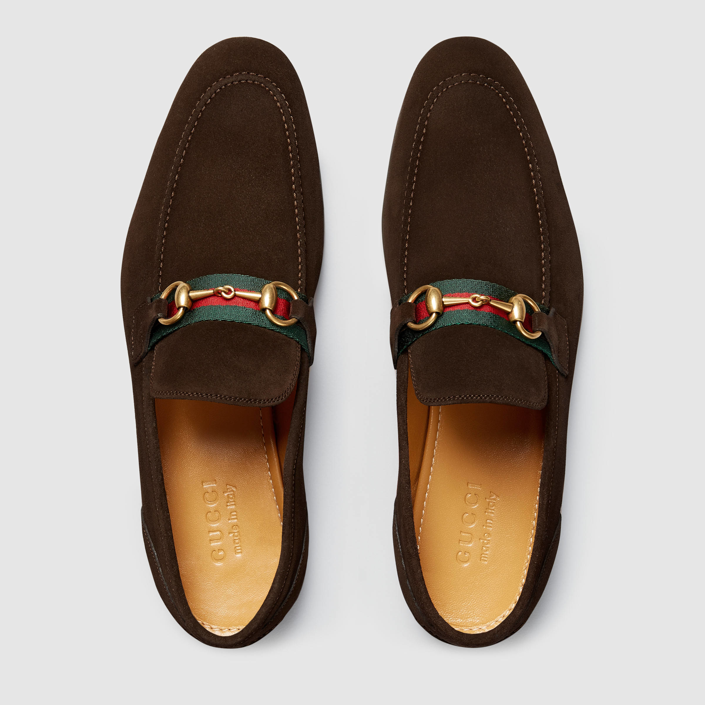 Lyst Gucci Horsebit Suede Loafer With Web In Brown For Men