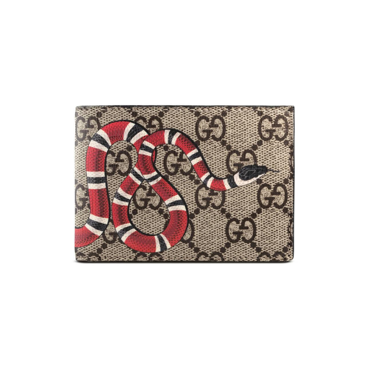 cc8dbf64201 Lyst - Gucci Kingsnake Print Gg Supreme Wallet in Black for Men