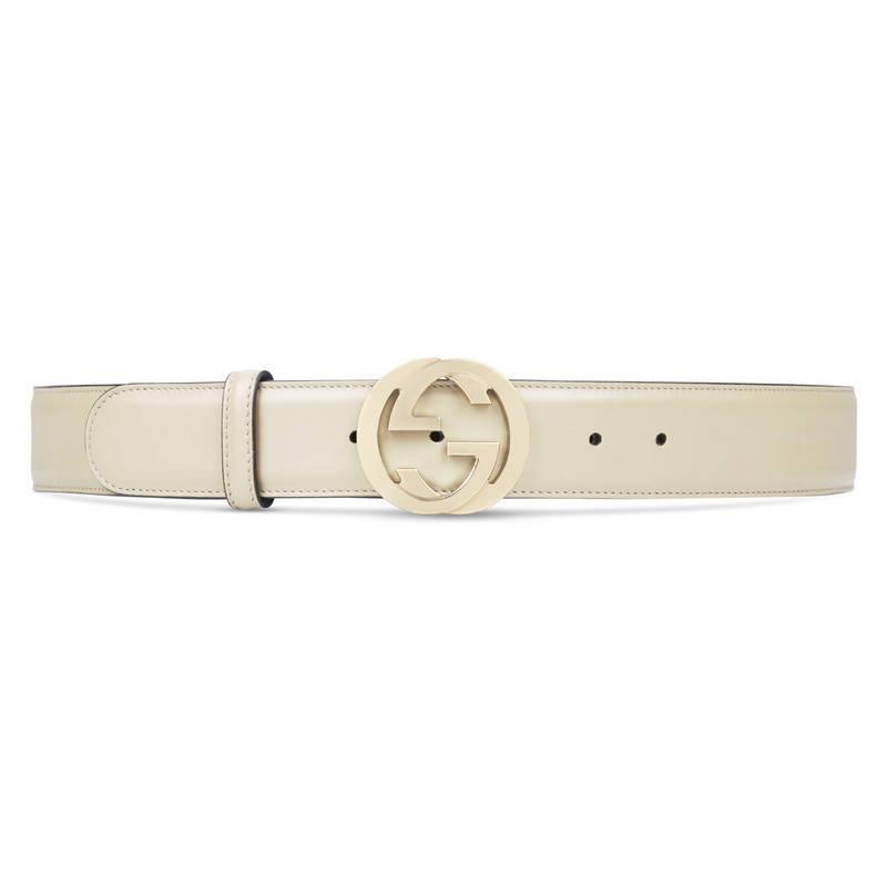Gucci Leather Belt With Interlocking G Buckle in White | Lyst