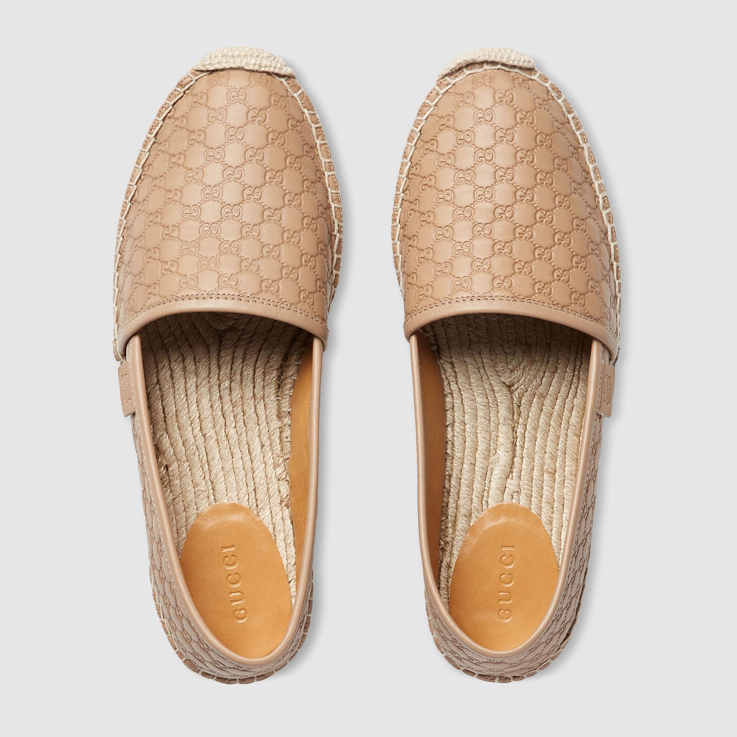 757e81e000d8 Lyst - Gucci Microssima Leather Espadrilles in Natural