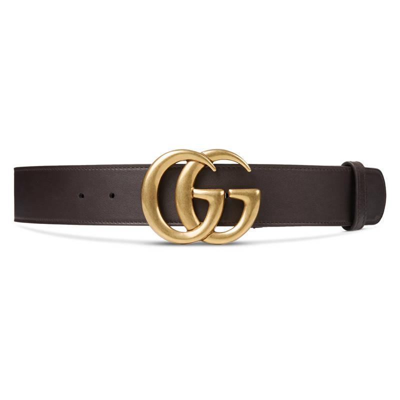 gucci leather belt with g buckle in brown lyst