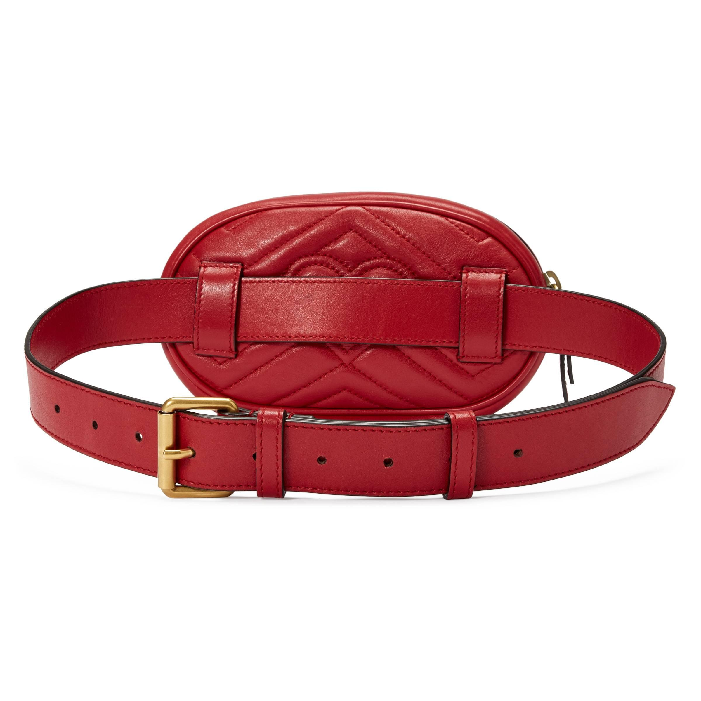 0dae2878a0f4 Gucci Gg Marmont Matelassé Leather Belt Bag in Red - Lyst