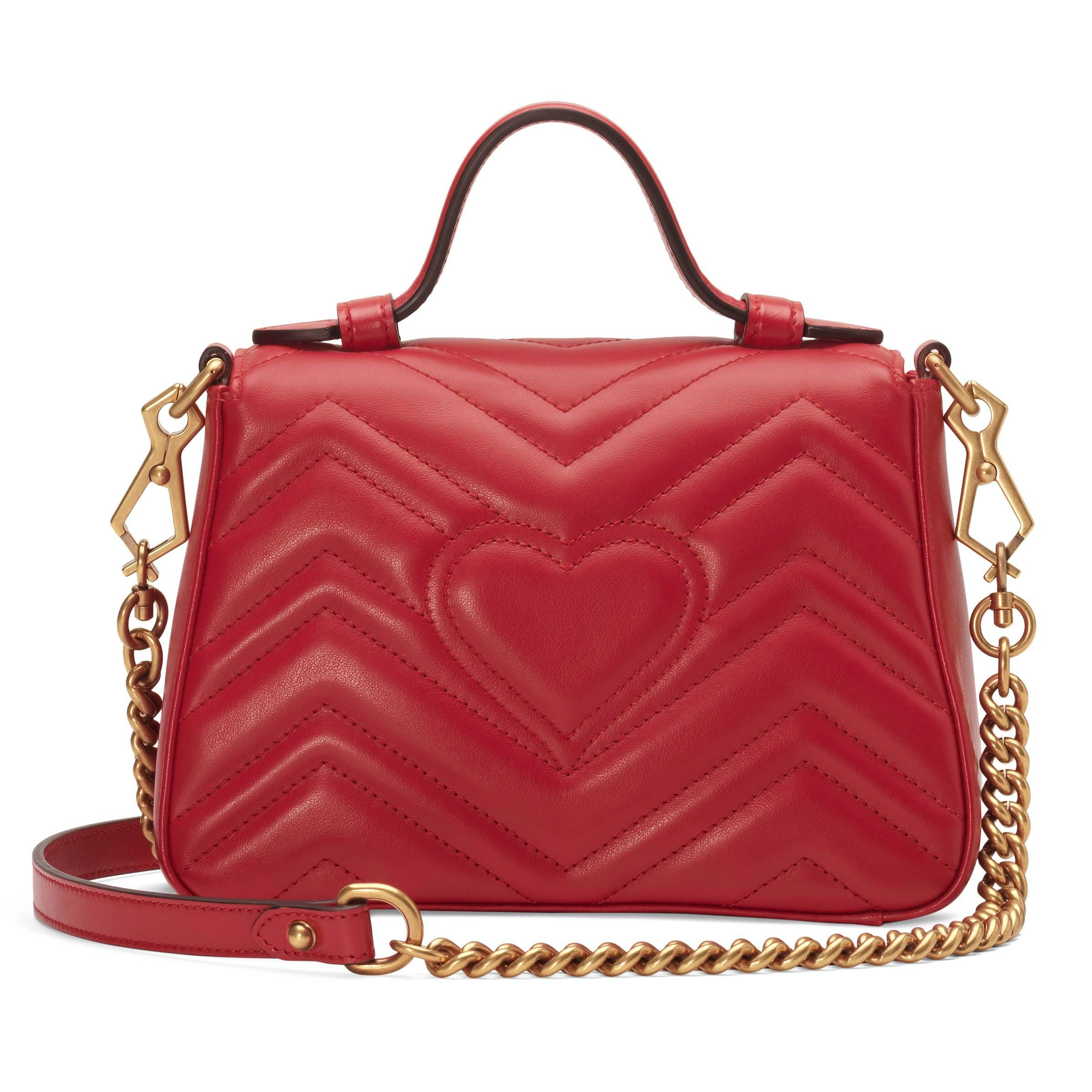 82cbadb6461 Gucci - Red GG Marmont Small Top Handle Bag - Lyst. View fullscreen