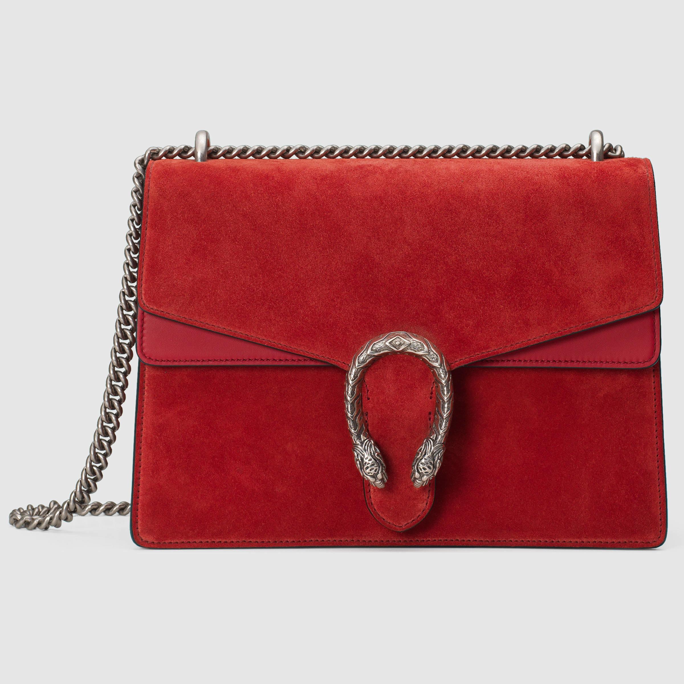 cf80a2c9 Gucci Dionysus Suede Shoulder Bag in Red - Lyst