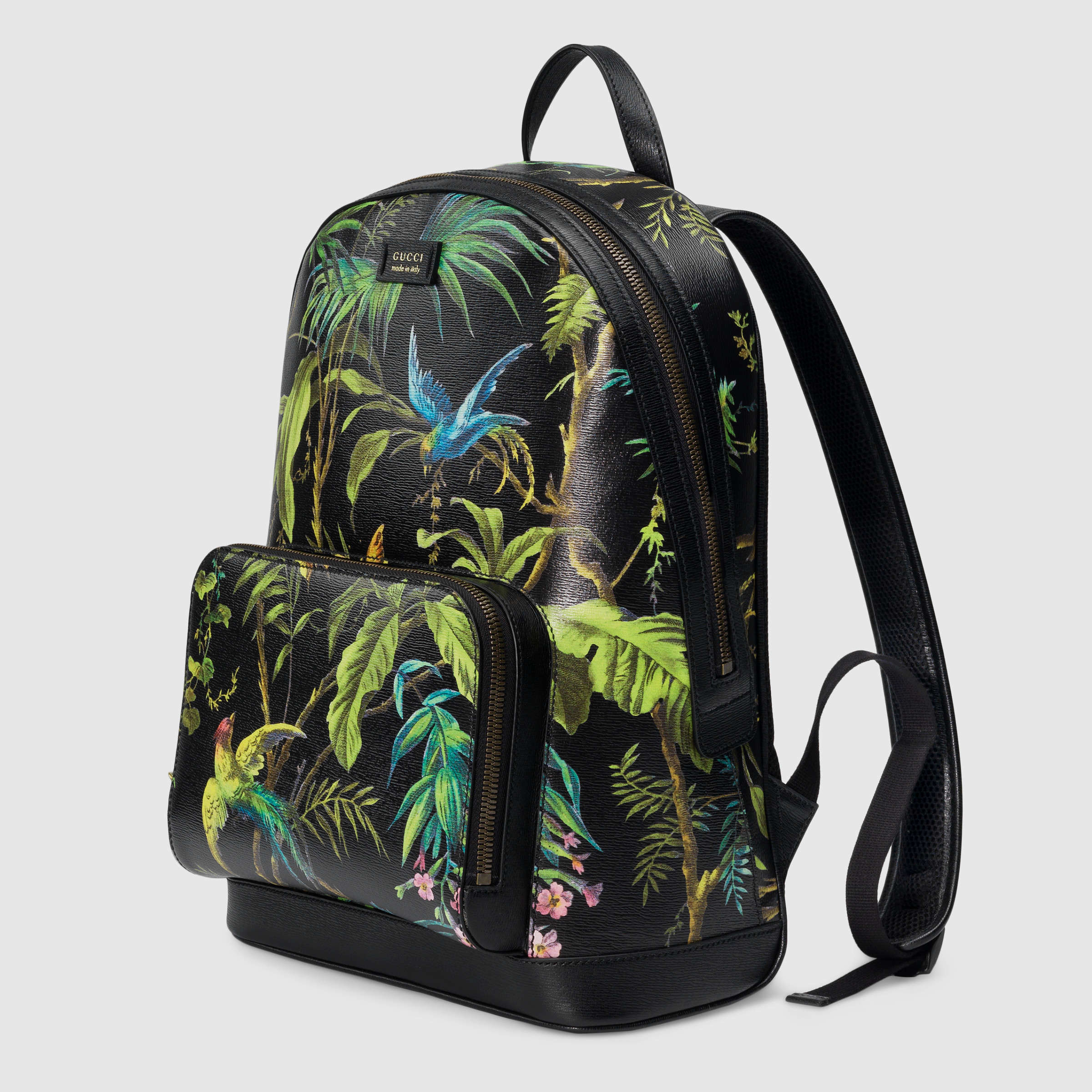 ca50e7d40d14 Lyst - Gucci Tropical Print Leather Backpack in Brown
