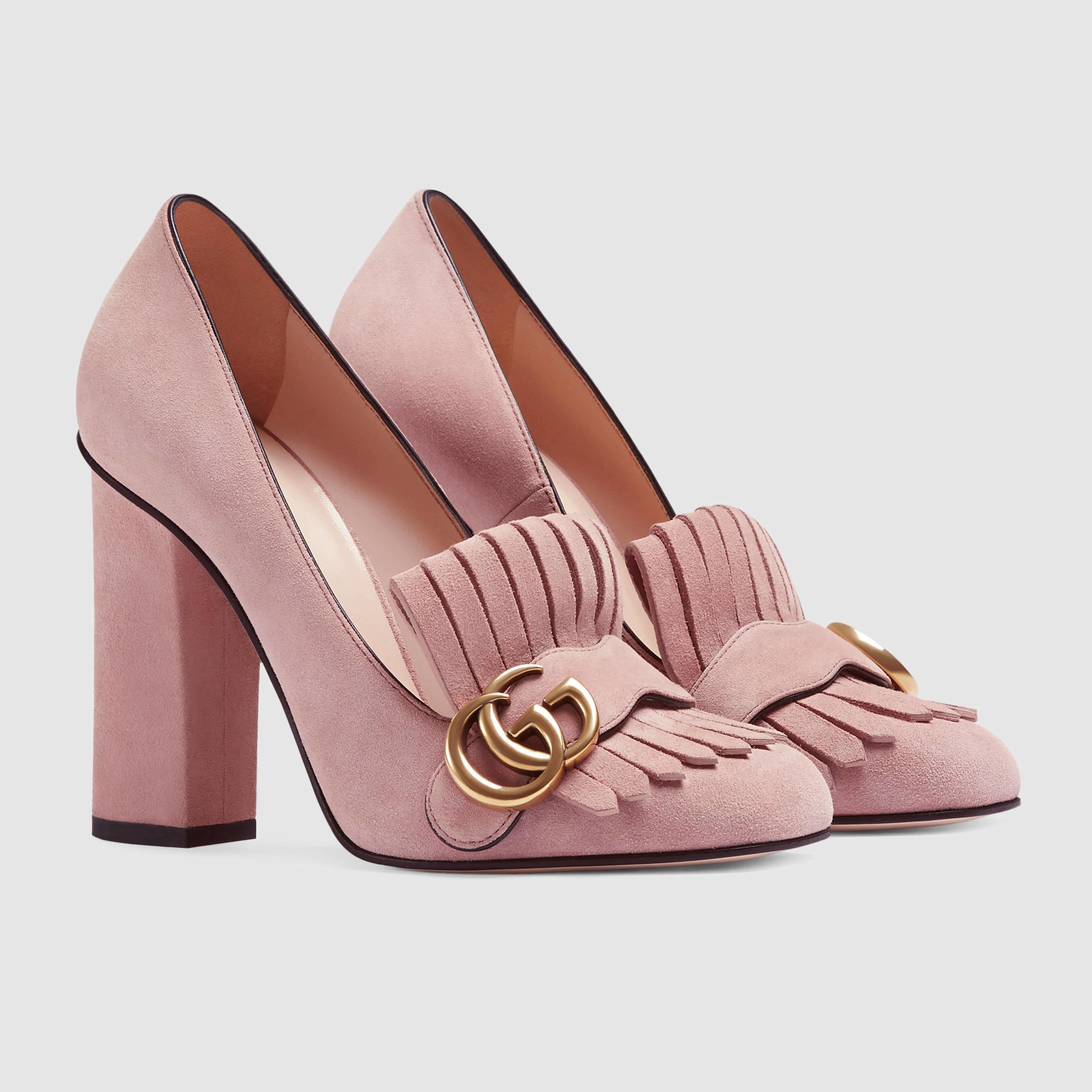 bfc37ba0ebf Lyst - Gucci Suede Pump in Pink