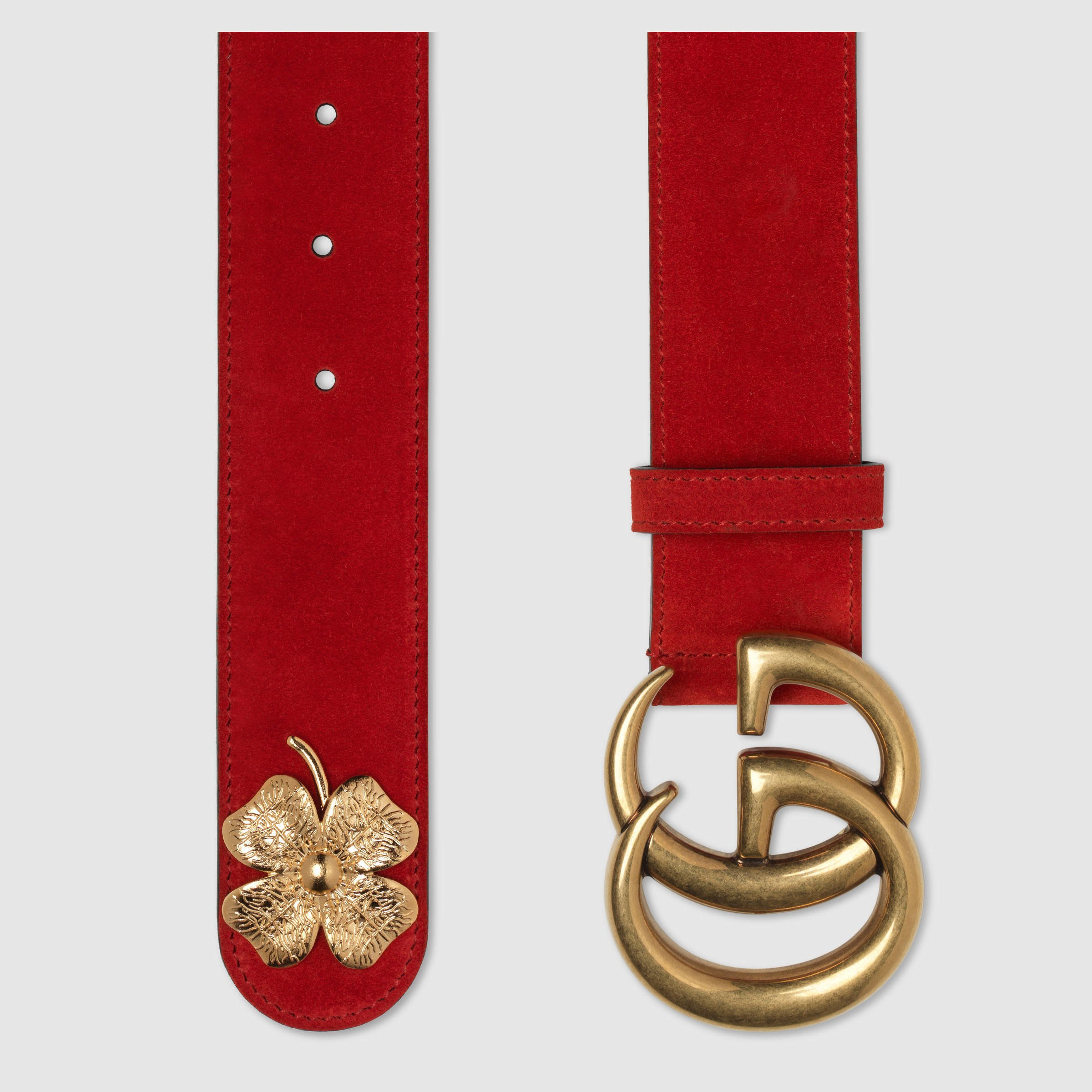 Gucci Clover Belt With Double G Buckle in Red | Lyst