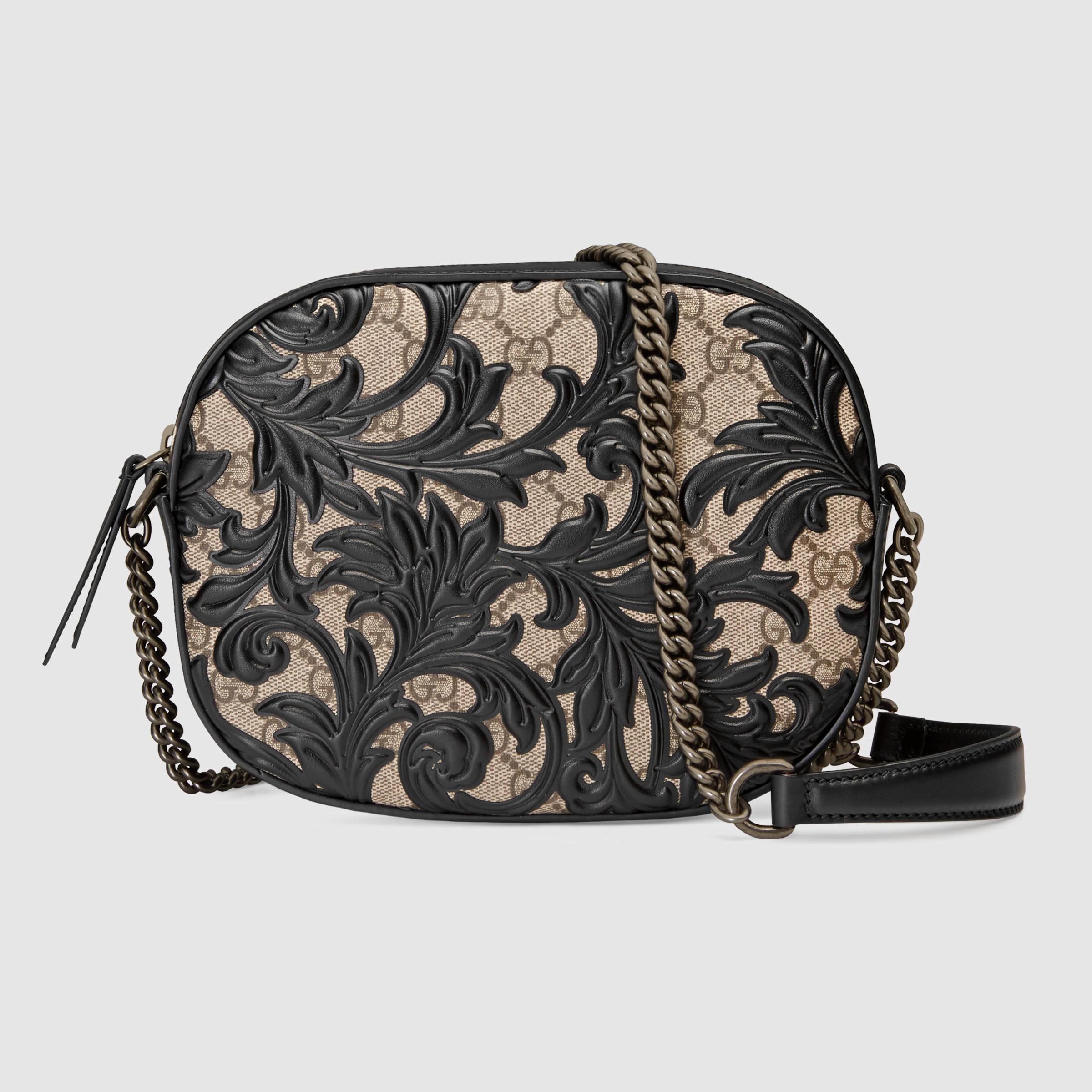 f24910ae5fb7 Gucci Arabesque Gg Supreme Mini Chain Bag in Black - Lyst
