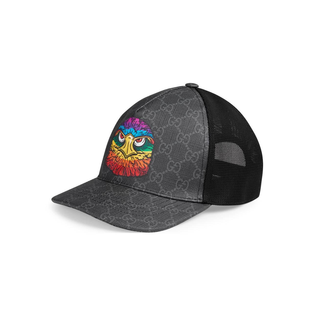 4b0a9f473fa Gucci GG Supreme Baseball Hat With Eagle in Black for Men - Lyst