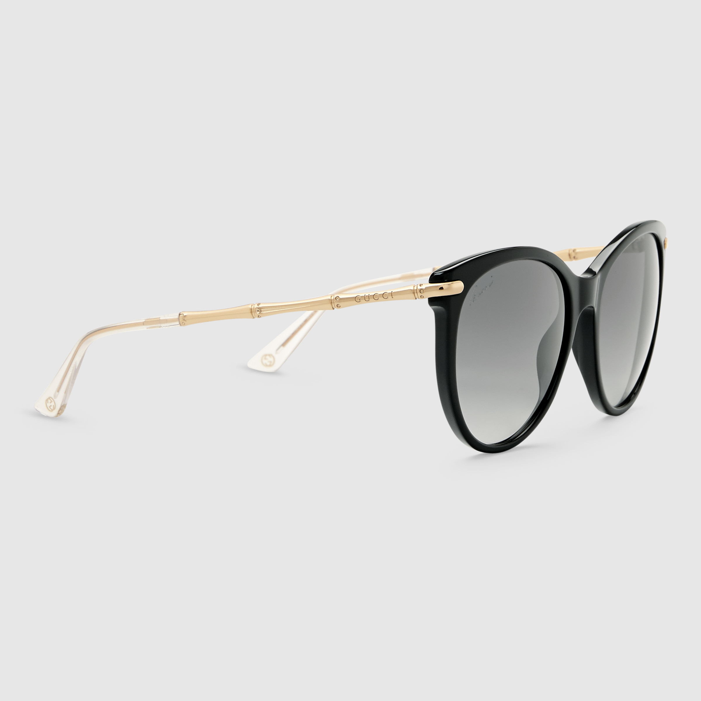 b4cb208e6f2 Lyst - Gucci Cat Eye Sunglasses With Metal Bamboo Temples in Yellow