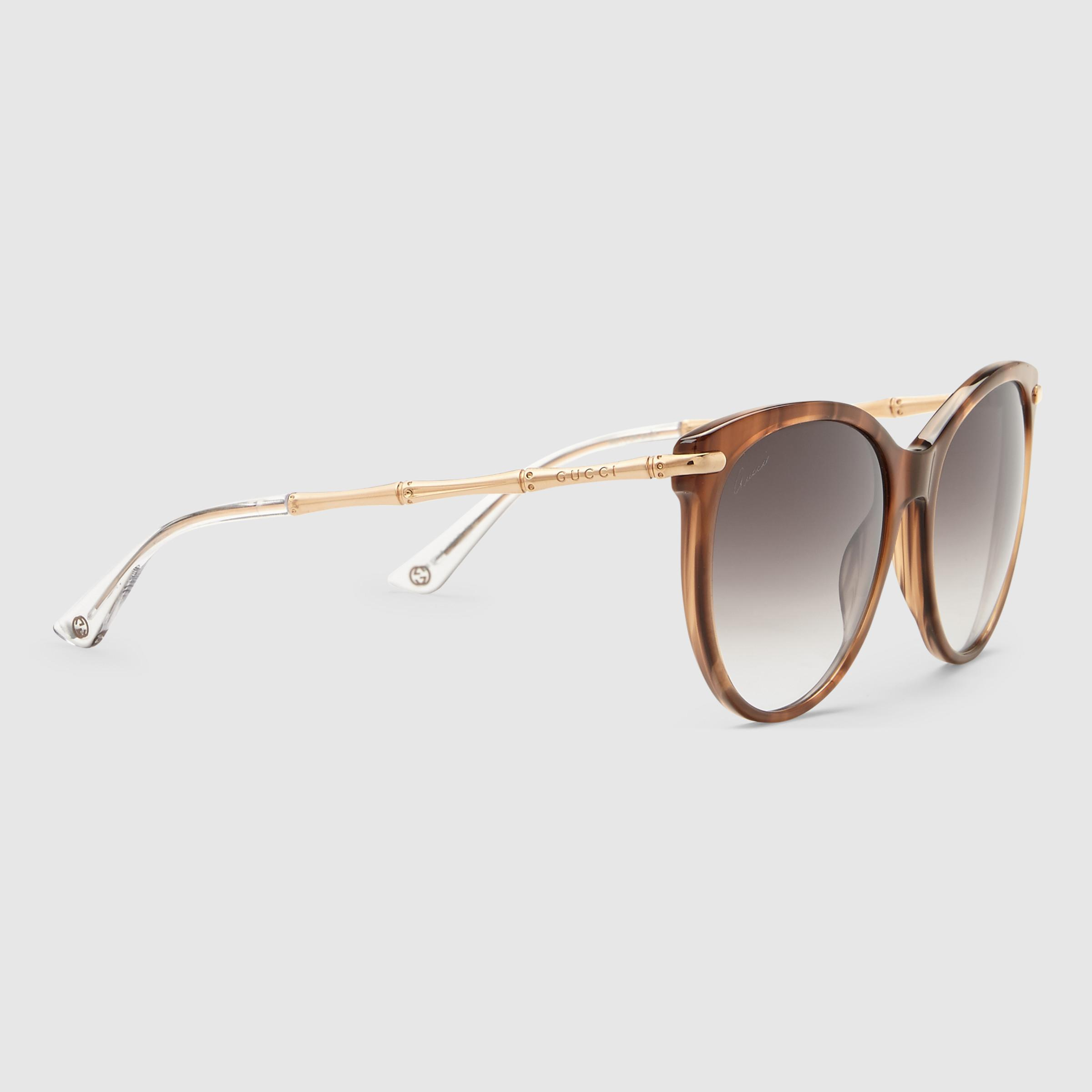 f3bc4712019 Lyst - Gucci Cat Eye Sunglasses With Metal Bamboo Temples in Red
