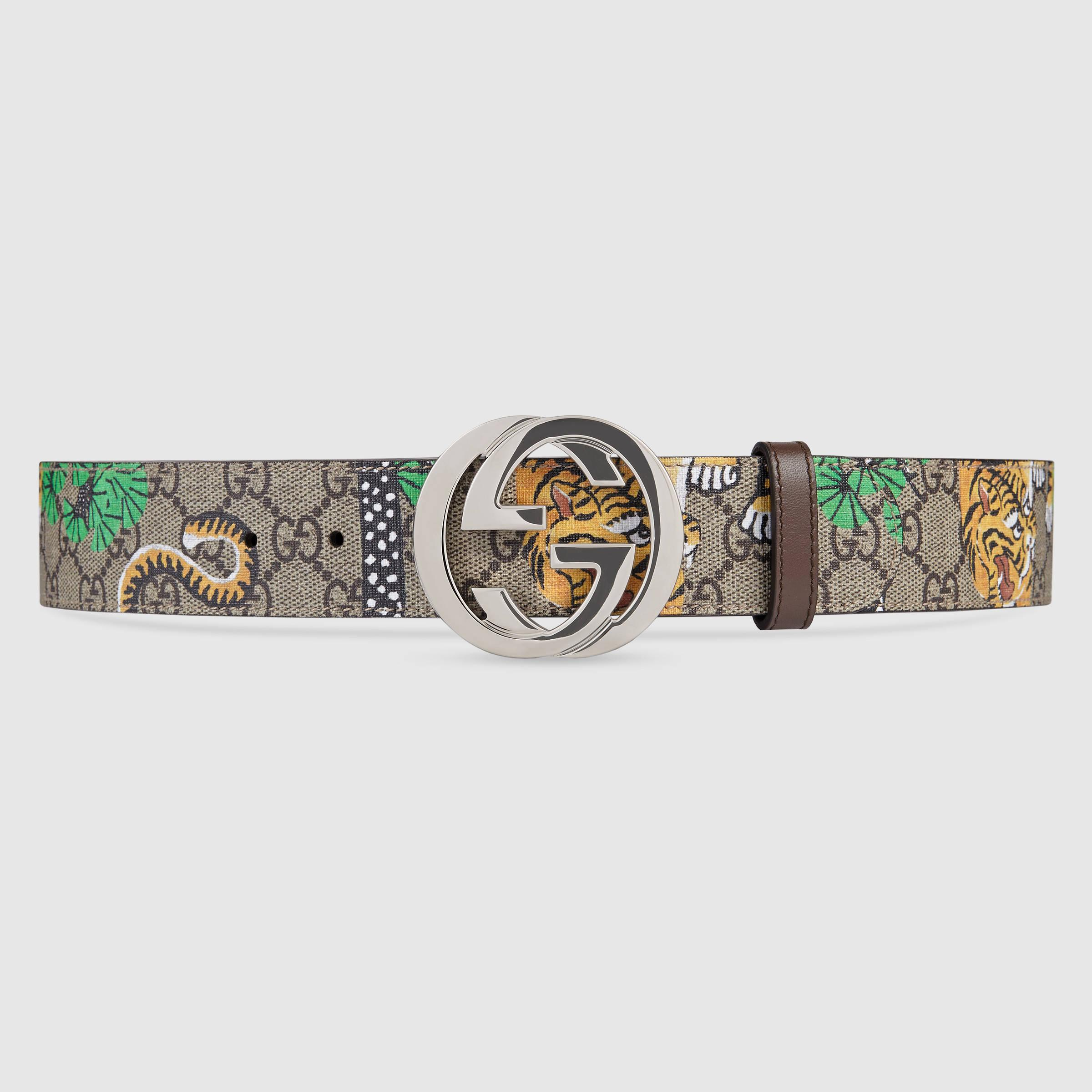 d47ebdc03 Gucci Bengal Gg Supreme Belt in Metallic for Men - Lyst