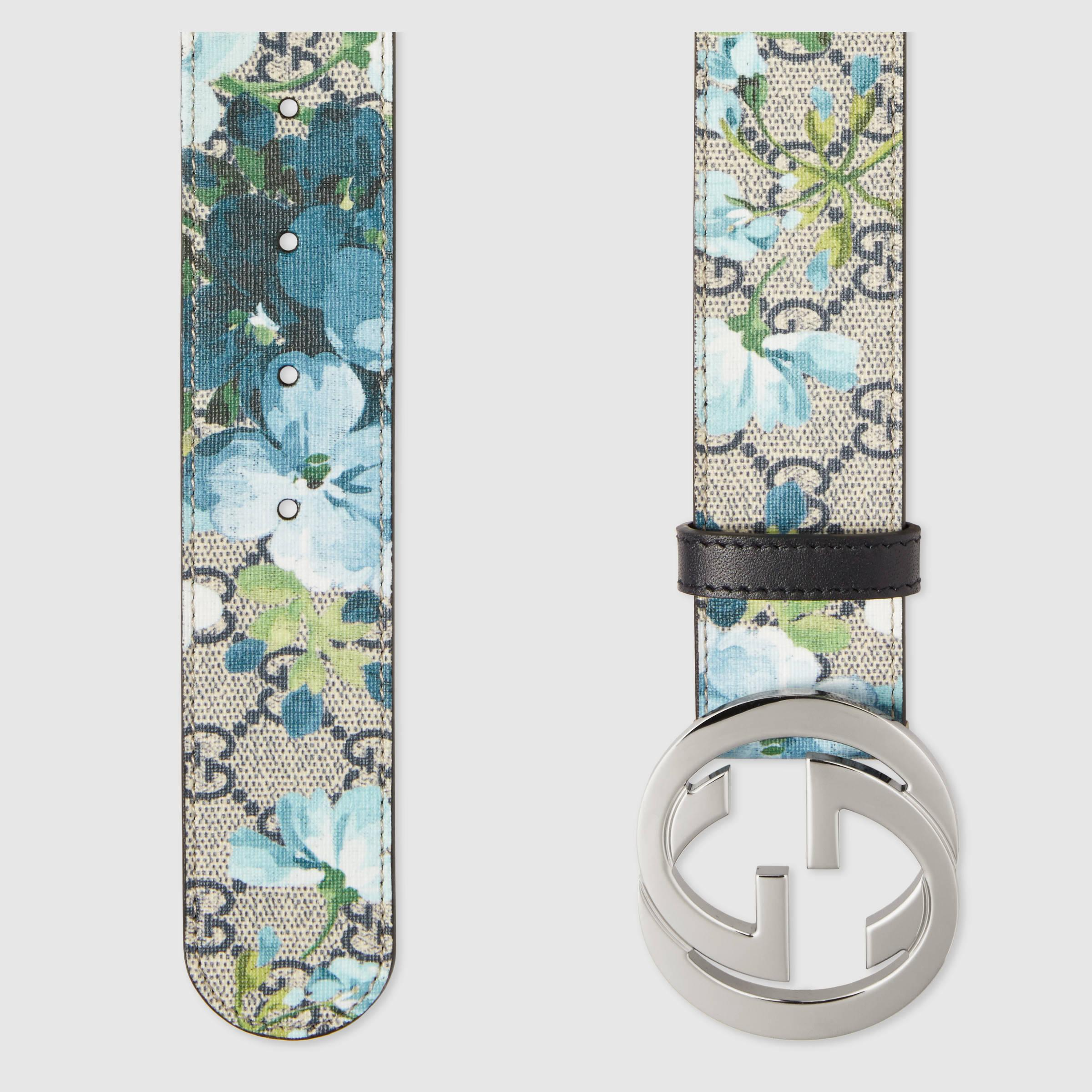 0d6928d34b5 Lyst - Gucci Gg Blooms Belt With G Buckle in Blue