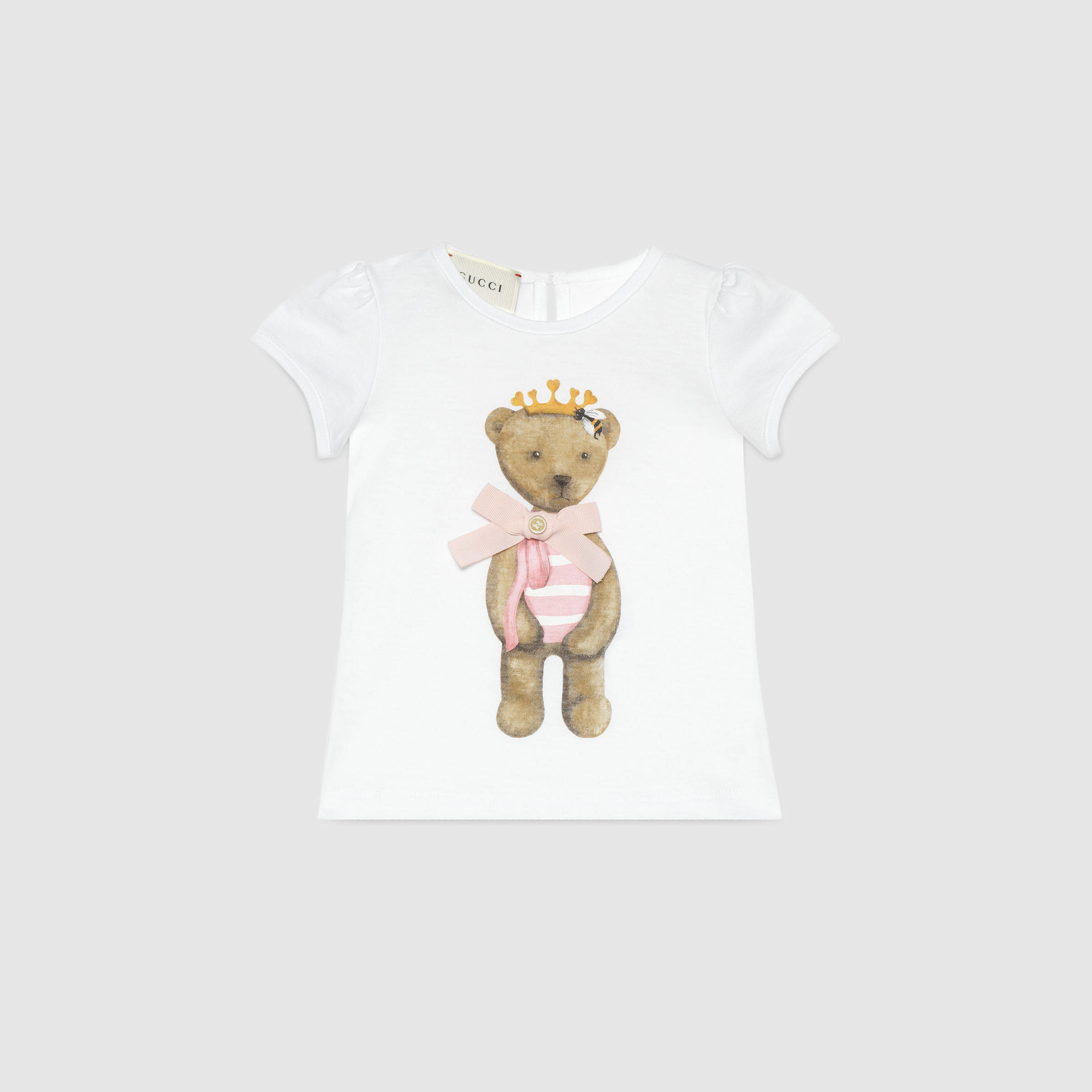 e904db9c3db05 Gucci Baby Teddy Print Cotton T-shirt in White - Lyst