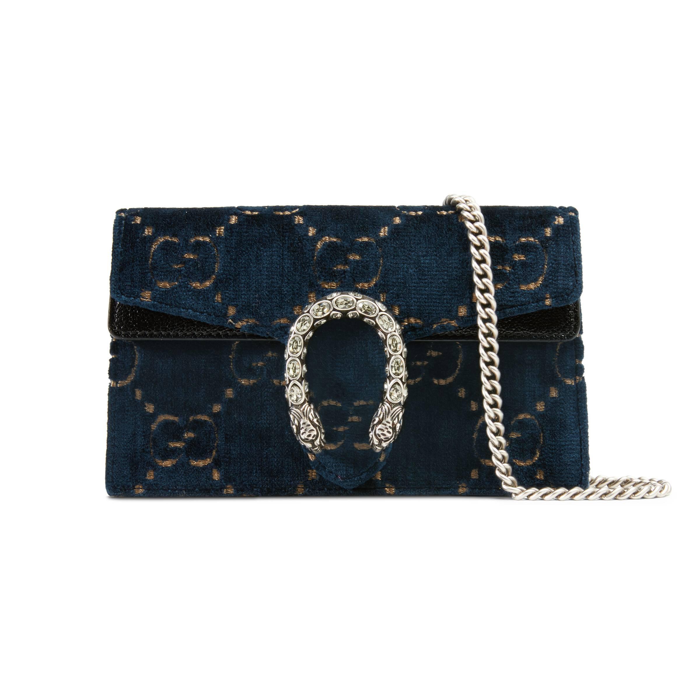 e8fcaa0f9cb Gucci Dionysus Gg Velvet Super Mini Bag in Blue - Lyst