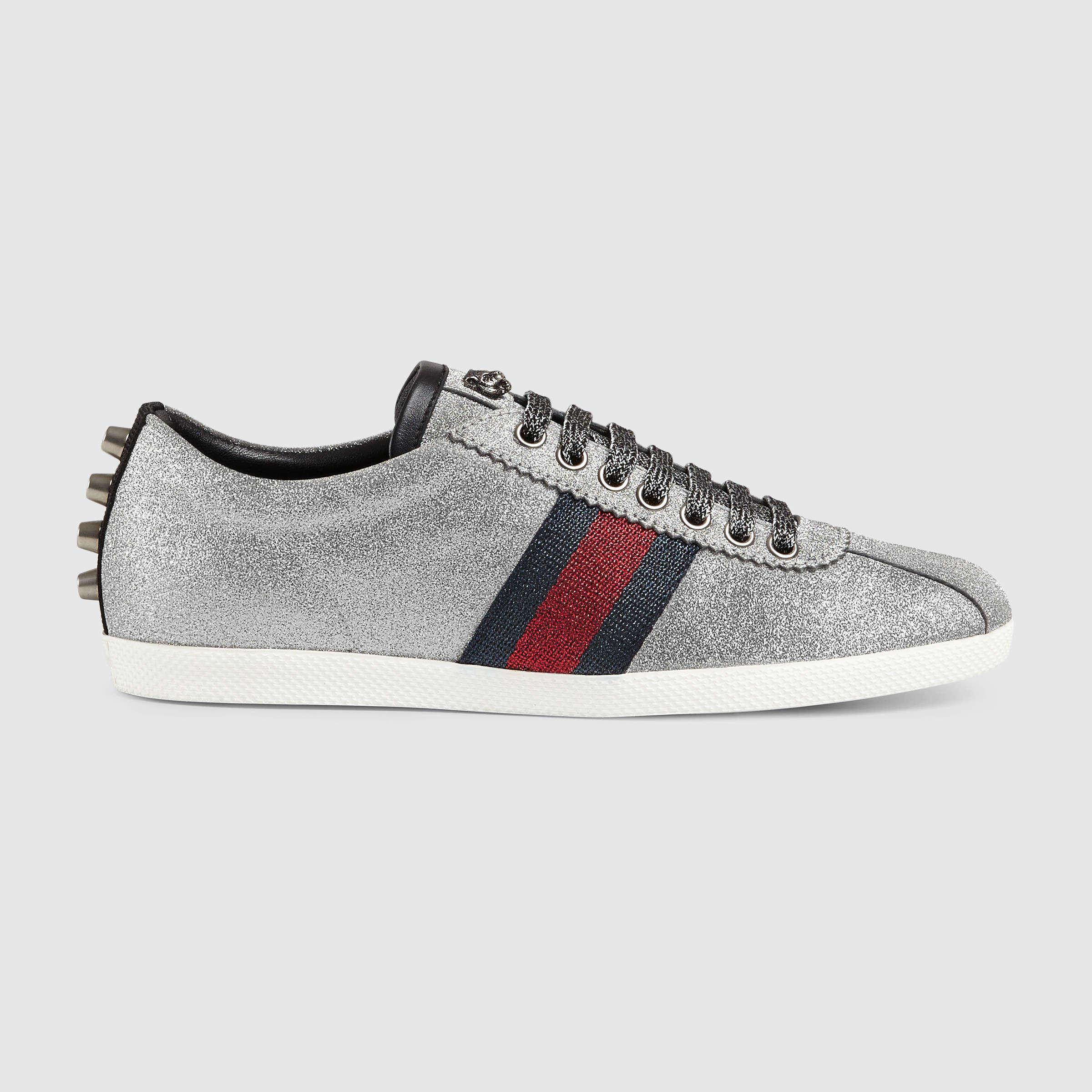 Lyst Gucci Glitter Web Sneaker With Studs In Metallic