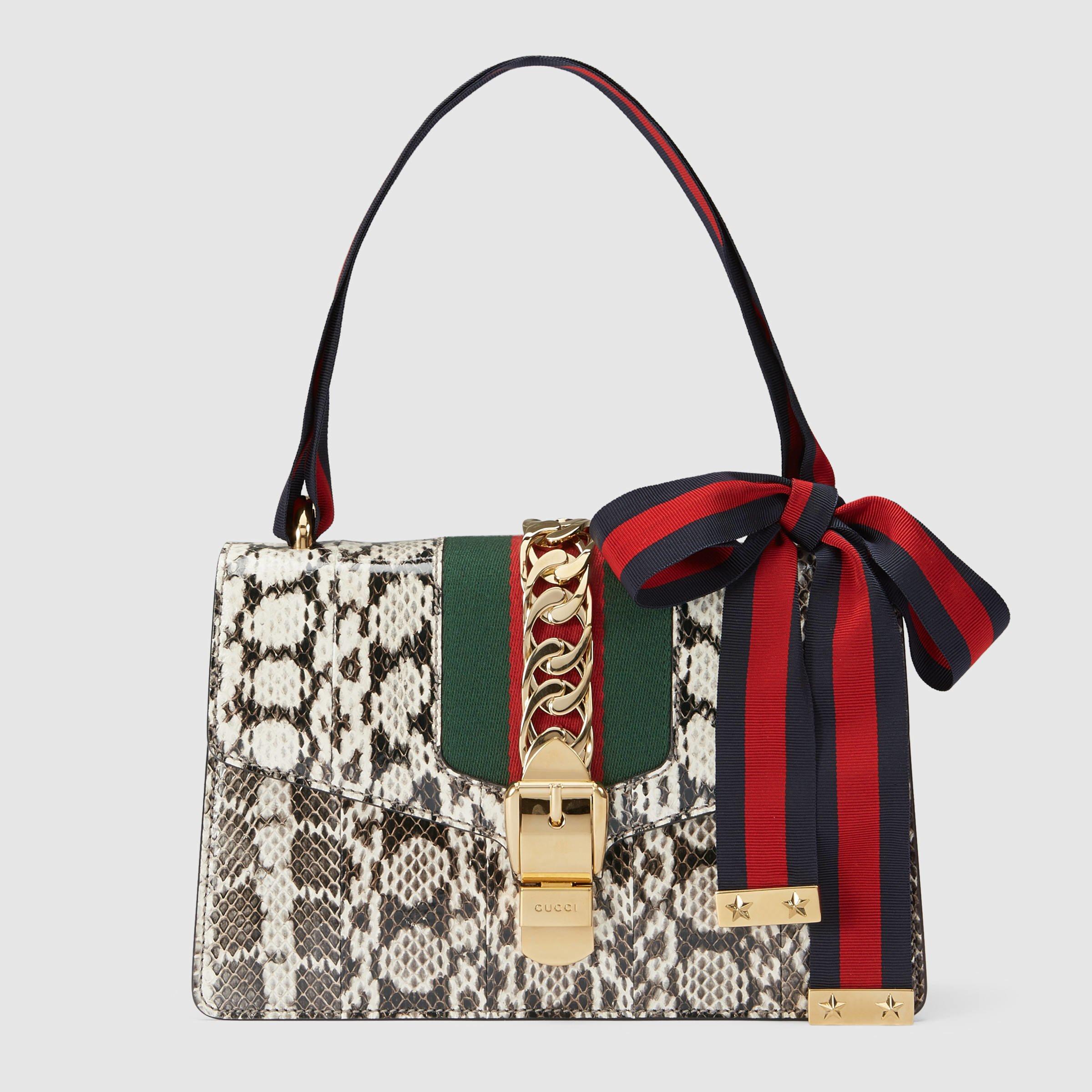 Lyst Gucci Sylvie Snakeskin Shoulder Bag