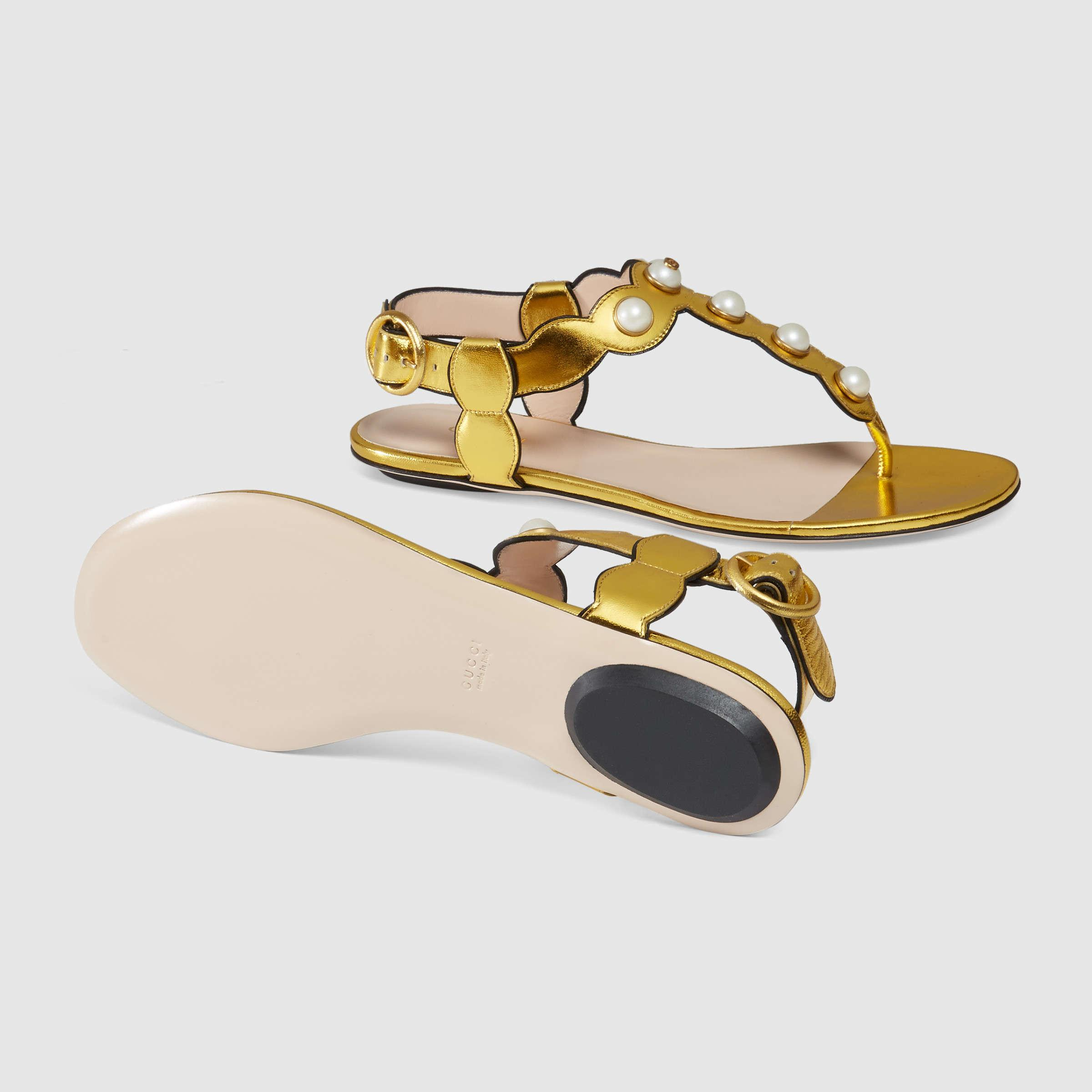 d28bf87da8901c Lyst - Gucci Embellished Metallic-Leather Sandals in Metallic