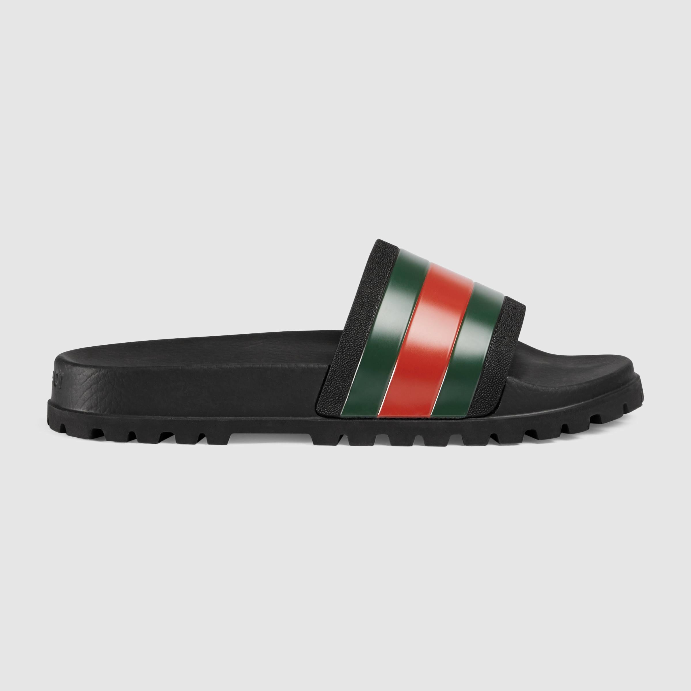 Gucci Web Slide Sandal in Black for Men | Lyst