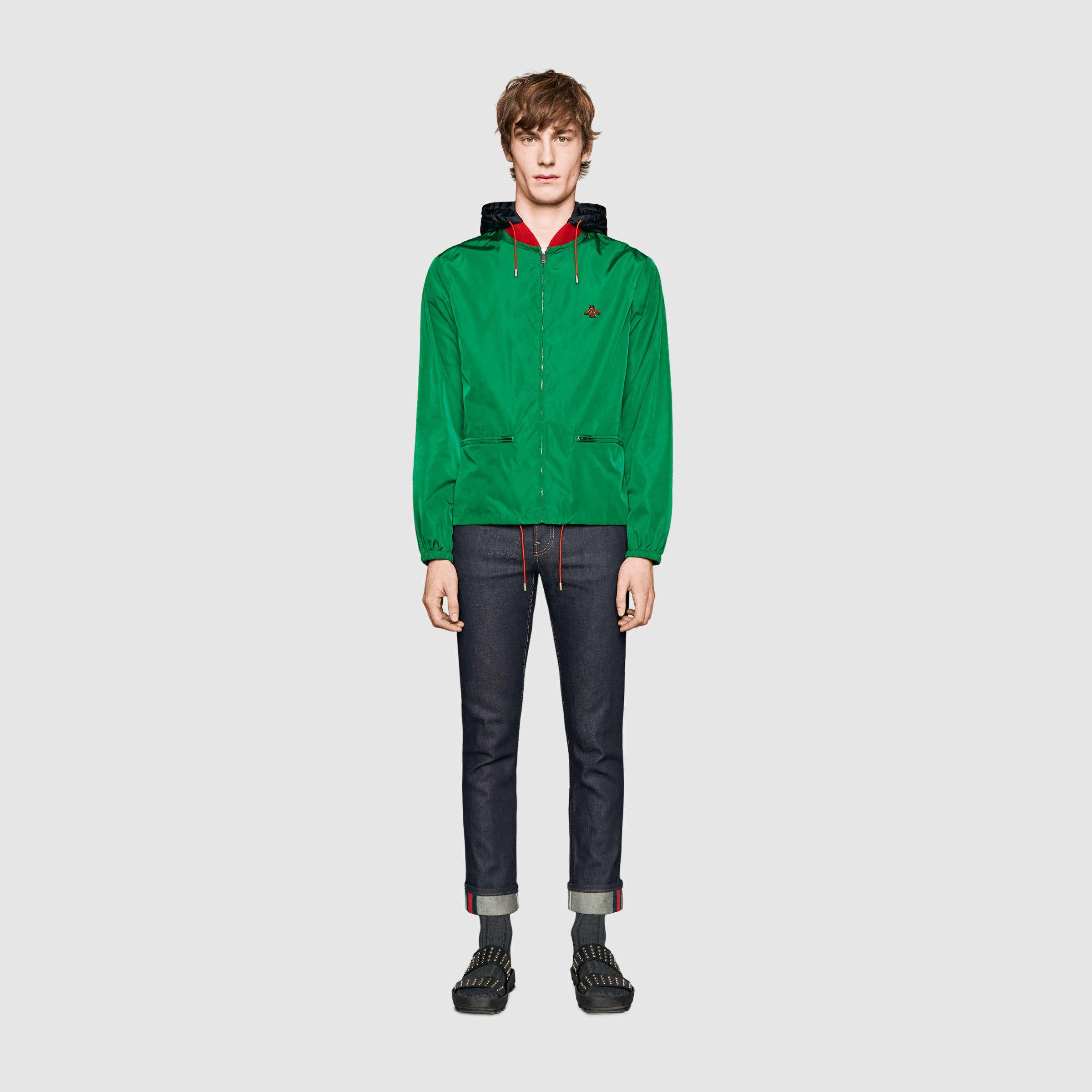 e0a010e8a Gucci Web And Snake Nylon Jacket for Men - Lyst