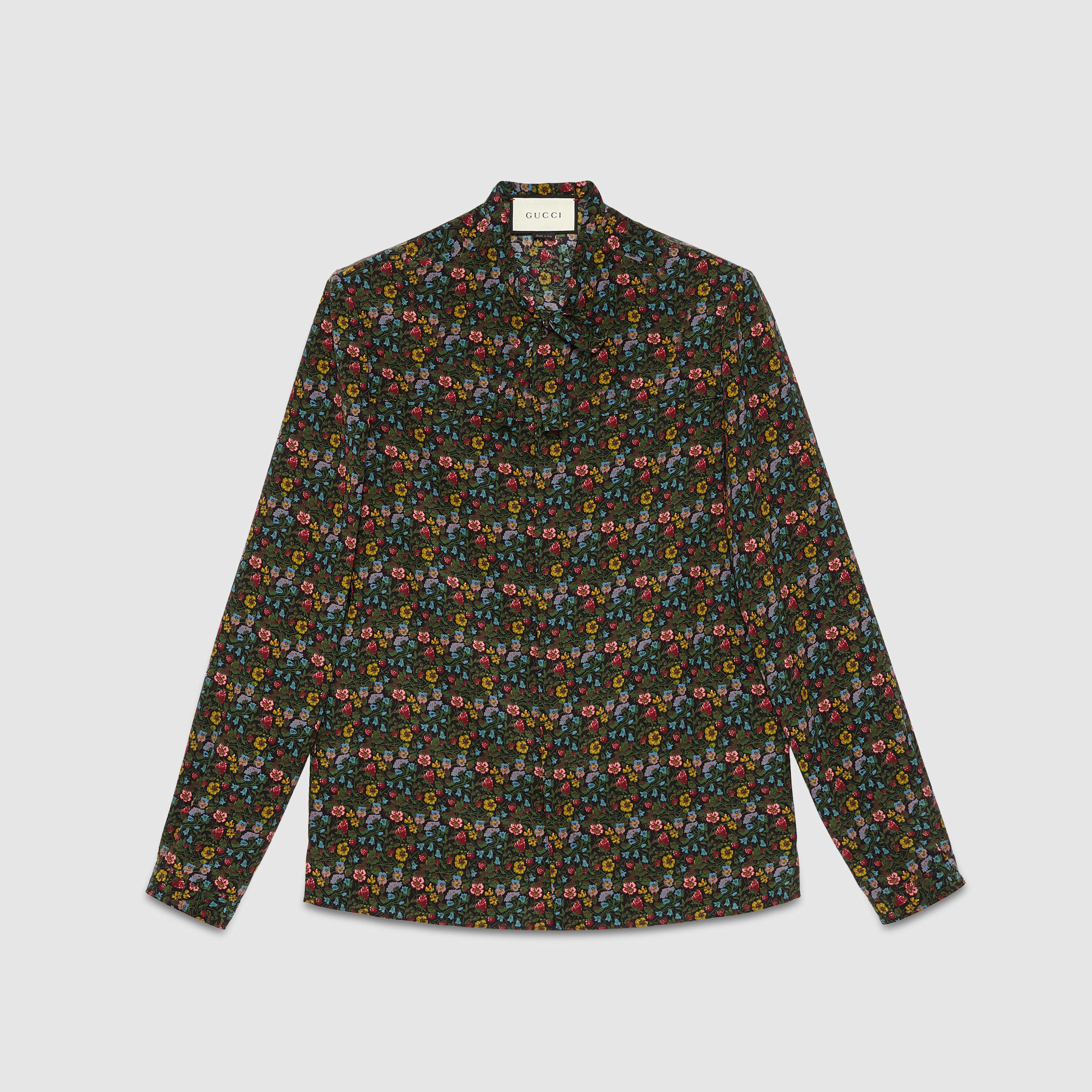 Lyst gucci vintage flowers silk cambridge shirt in black for men gallery mightylinksfo