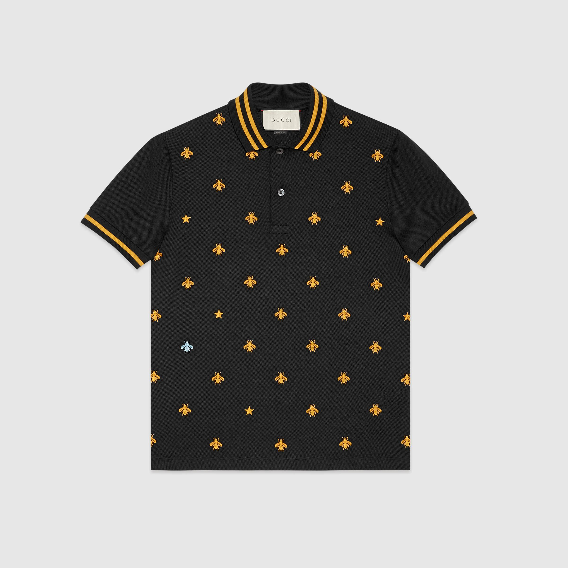0014643fec8 Lyst - Gucci Cotton Polo With Bees And Stars in Black for Men Gucci Logo-embroidered  Polo Shirt ...