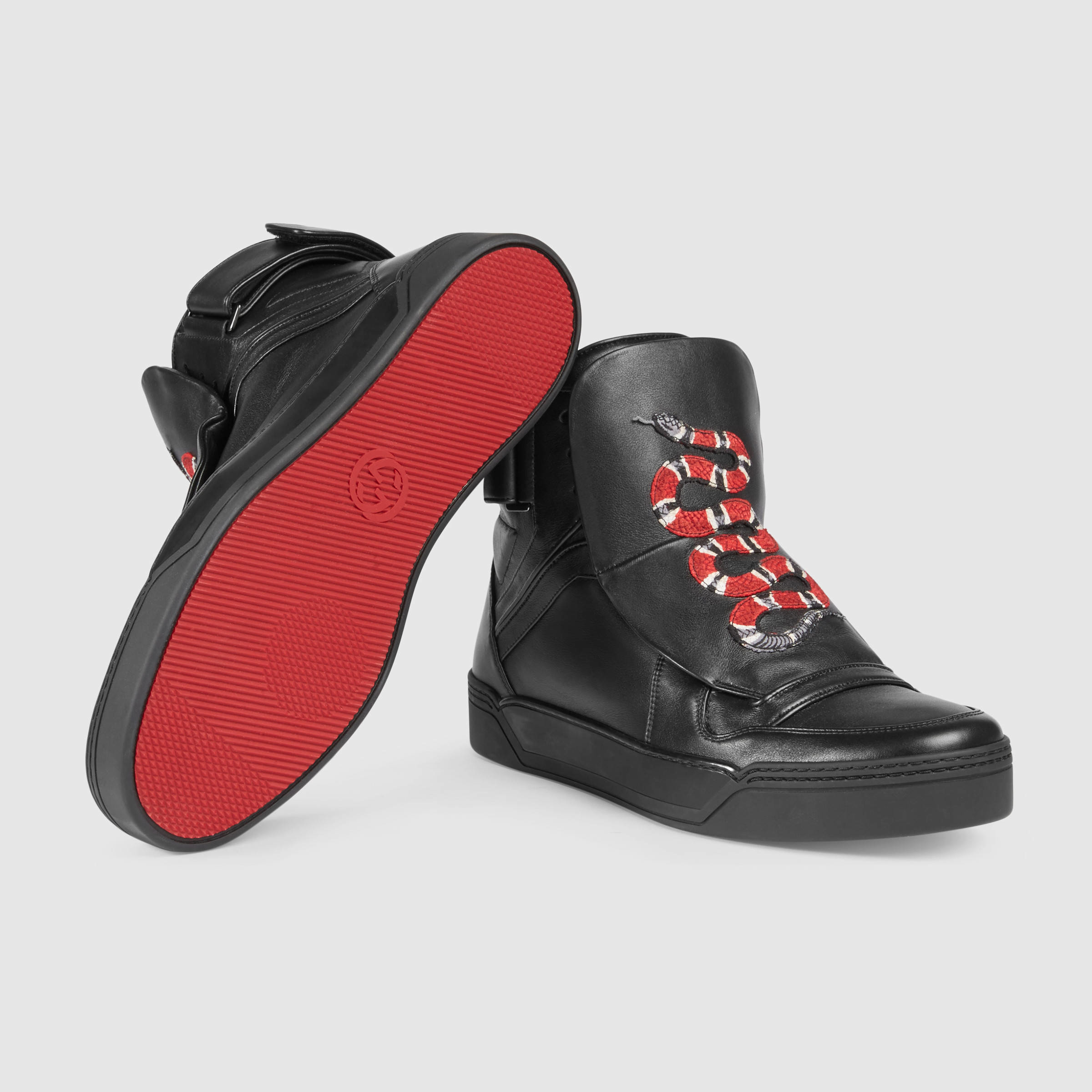 c1c2bc42482 Lyst - Gucci Leather High-top Sneaker With Snake in Black for Men