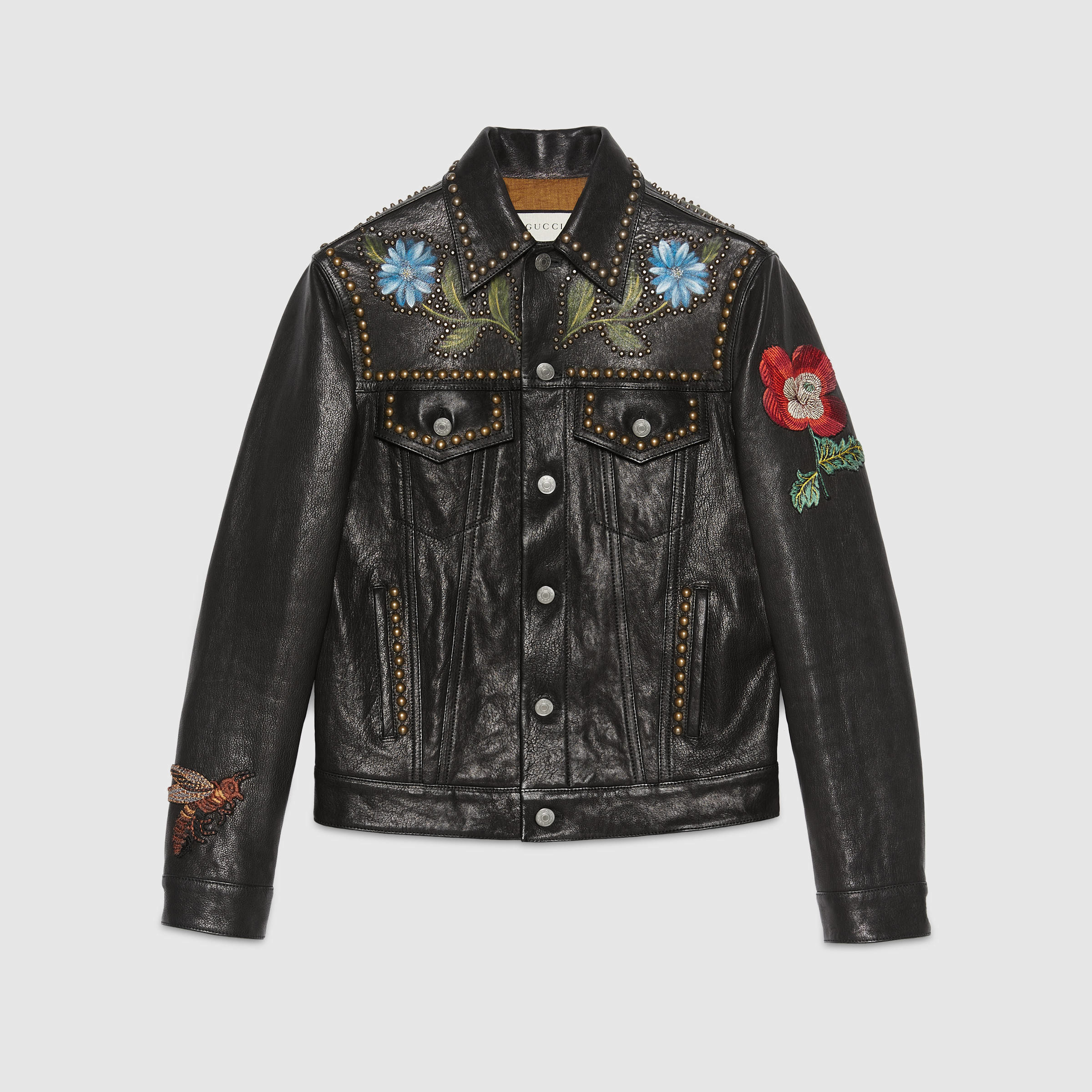 gucci painted leather jacket in black for men lyst