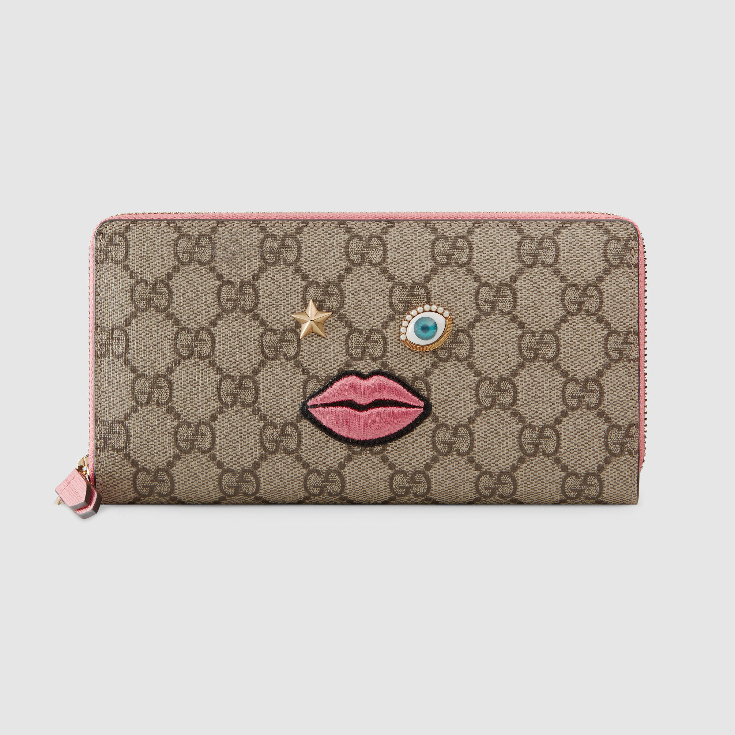 6d21249a2627 Gucci Zip Around Wallet With Embroidered Face 431392 Pink | Stanford ...