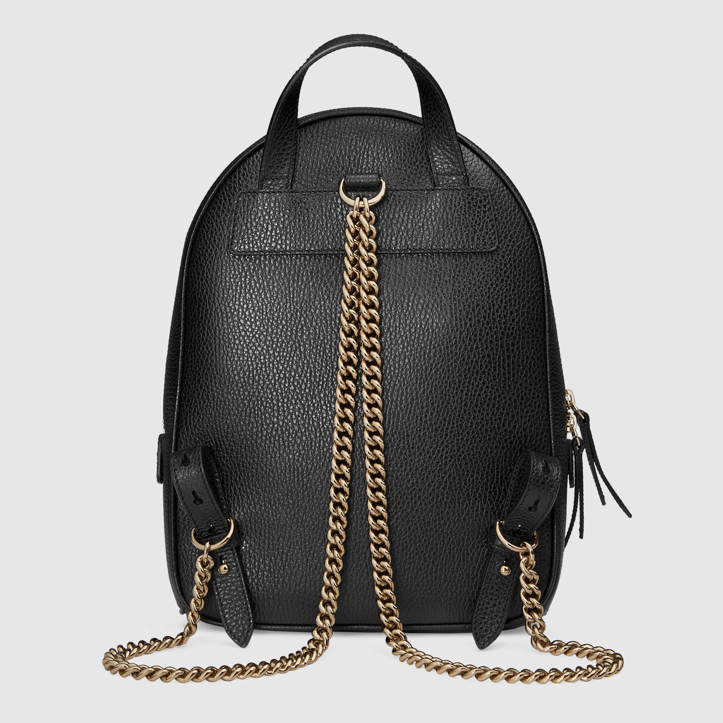 8675bd157 Gucci Soho Leather Chain Backpack in Black - Lyst