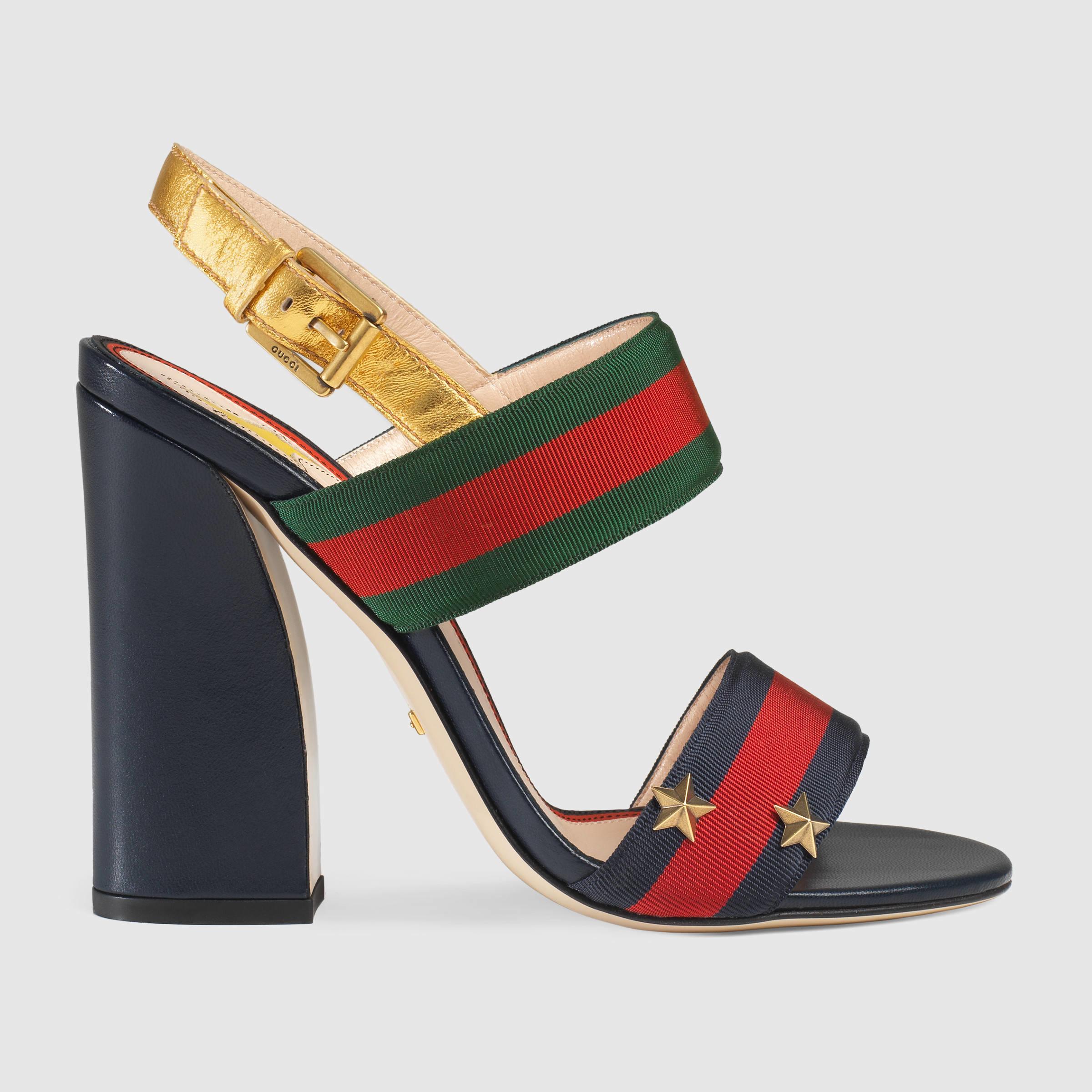 f40cbbba62c Lyst - Gucci Grosgrain Web Sandal in Red