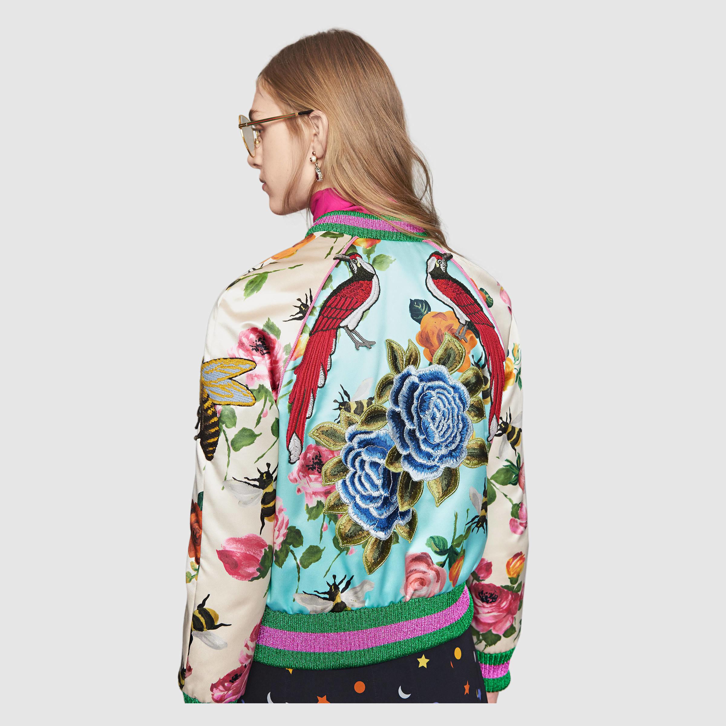 3ab9804ce59 Lyst - Gucci Rose Print Silk Bomber
