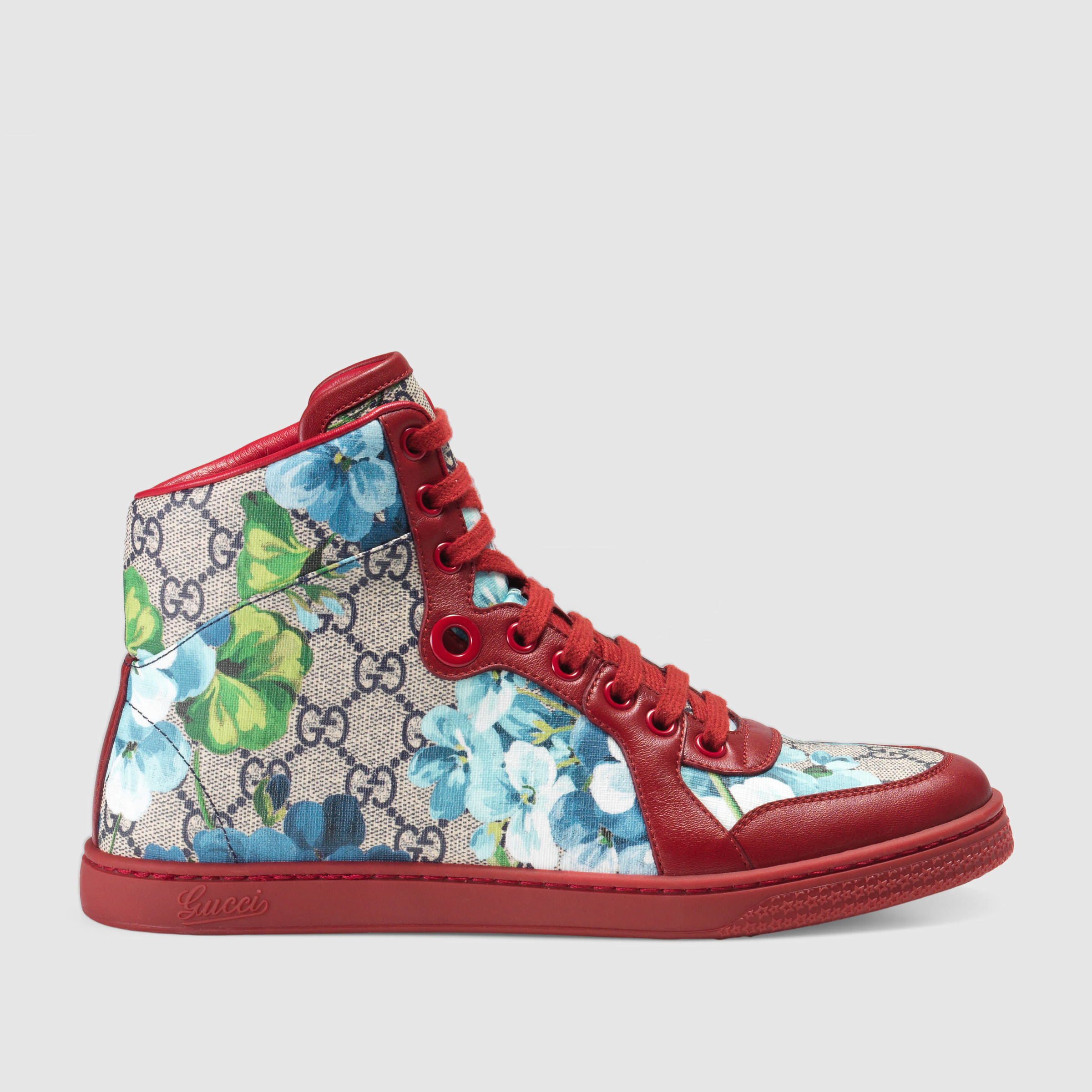 eb252374d17 Gucci Gg Blooms High-top Sneaker in Blue - Lyst