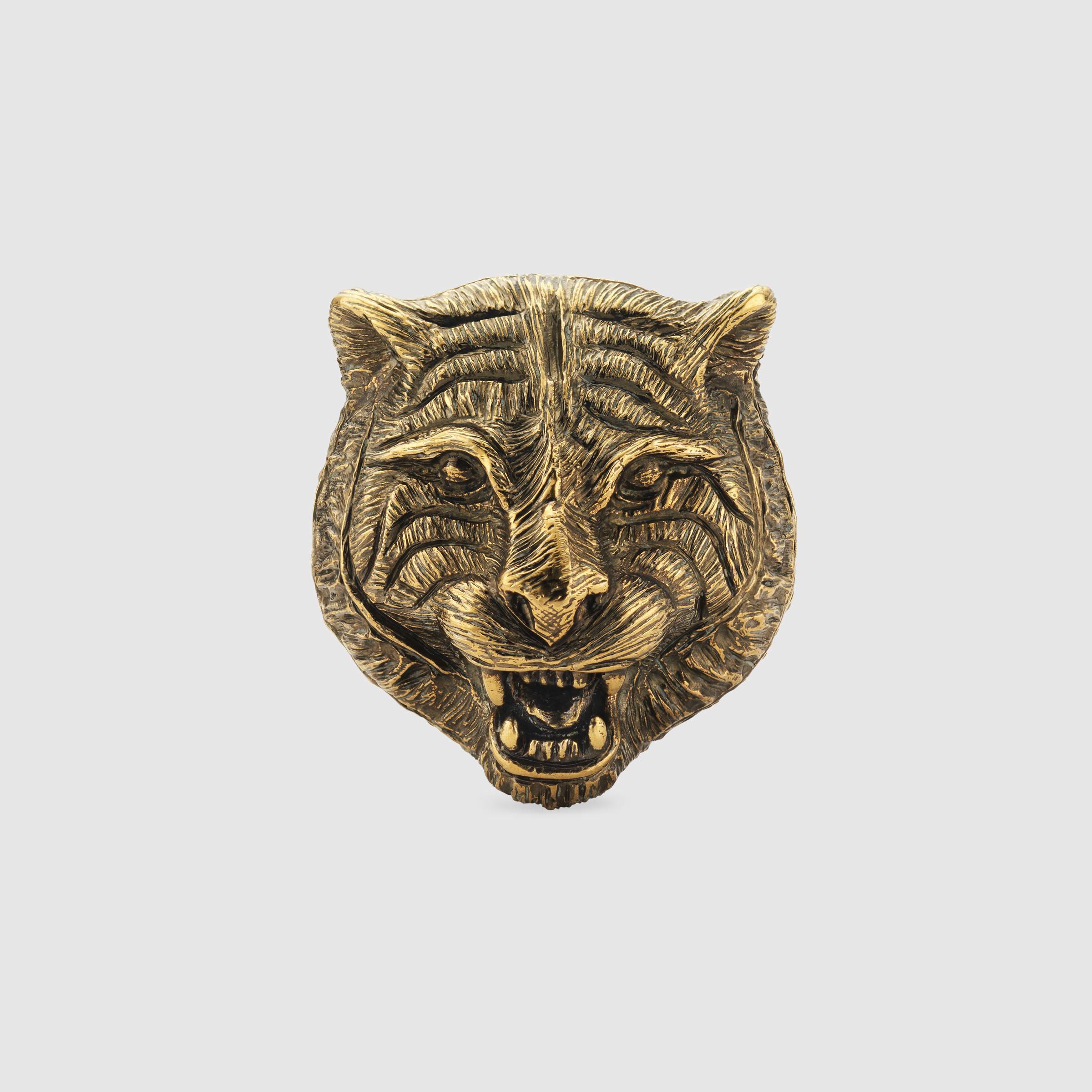 7a1883ab4b8cdf Lyst - Gucci Feline Head Ring In Metal in Metallic for Men
