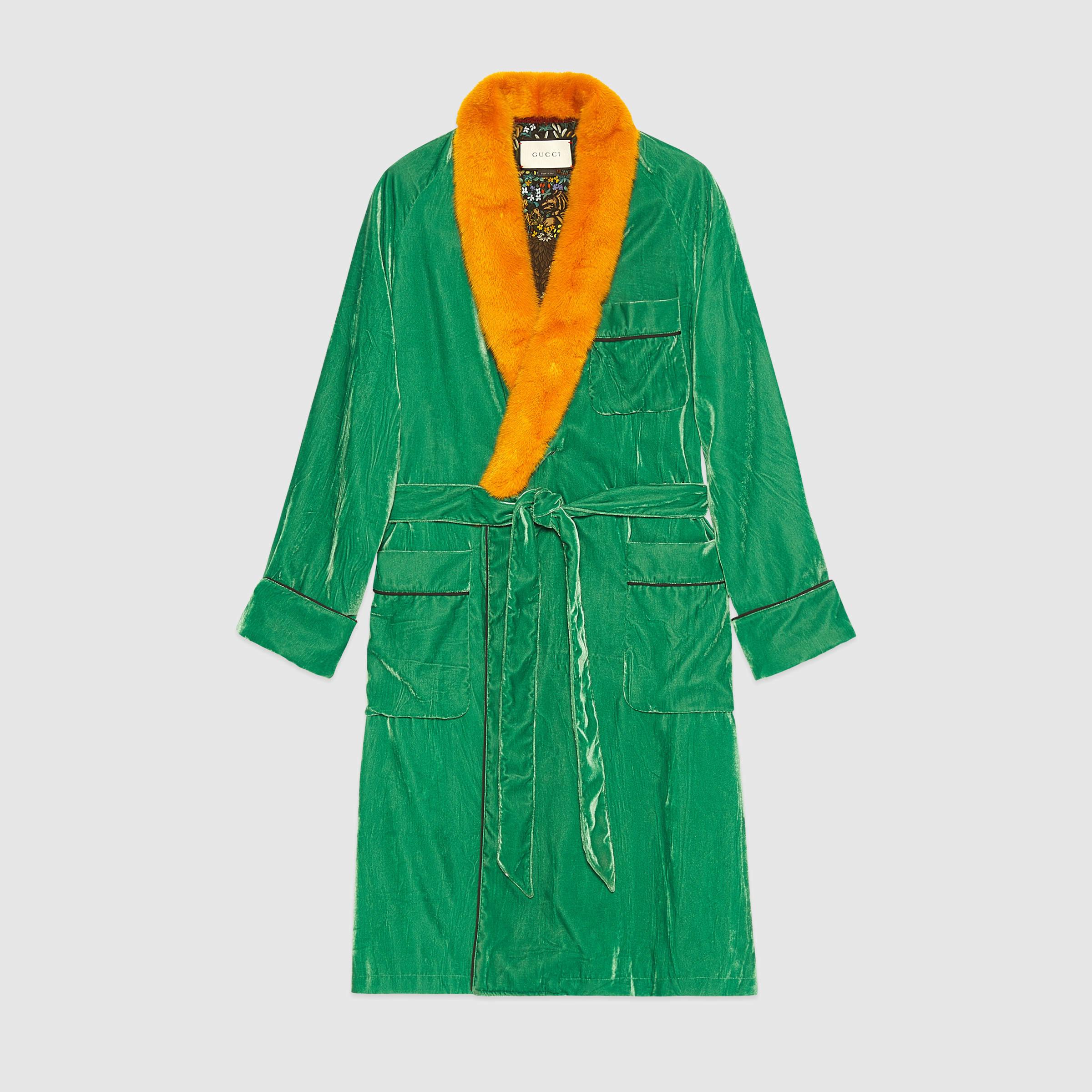 Lyst Gucci Embroidered Velvet Dressing Gown For Men