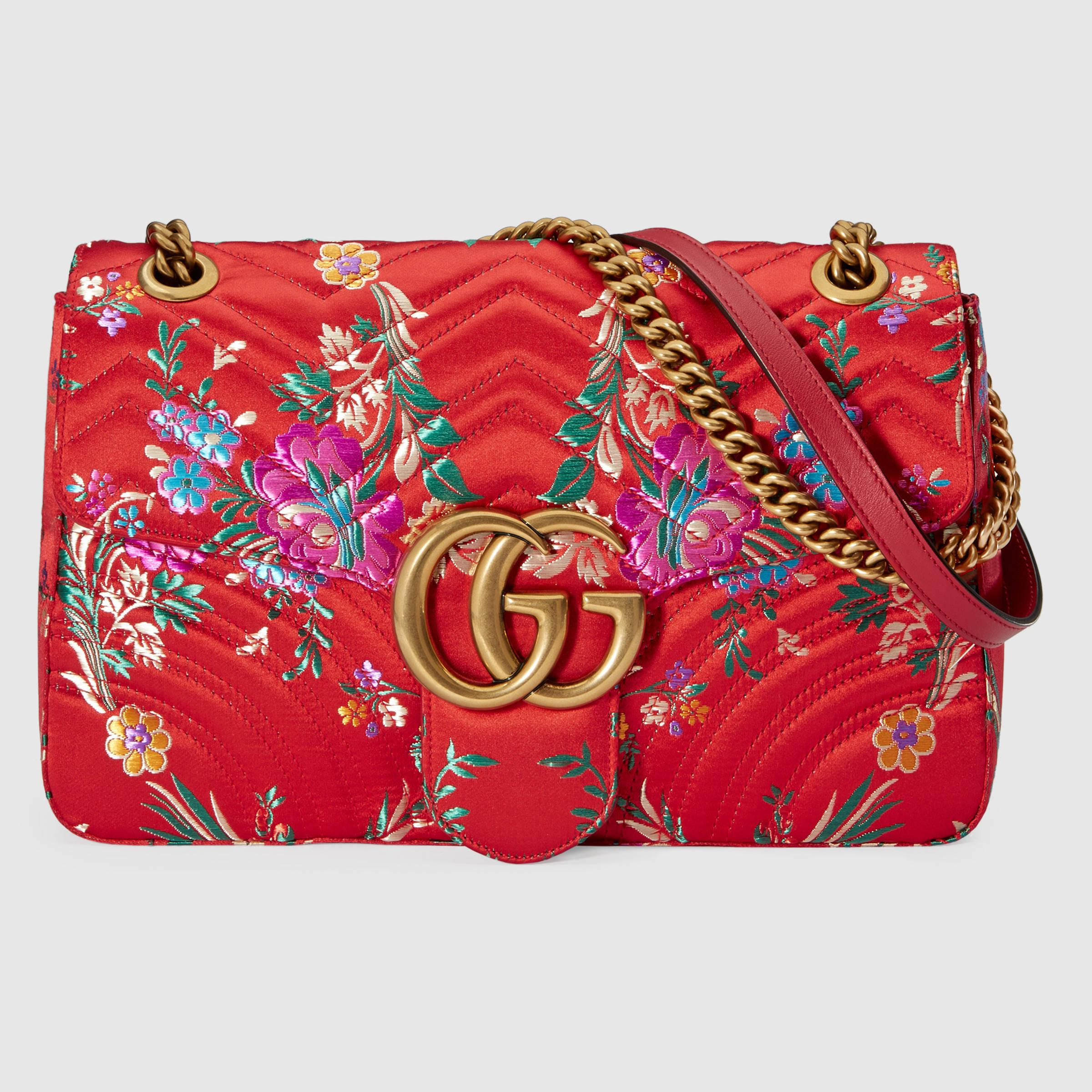 d9f24a3c1b63 Lyst - Gucci Gg Marmont Floral Jacquard Shoulder Bag in Red