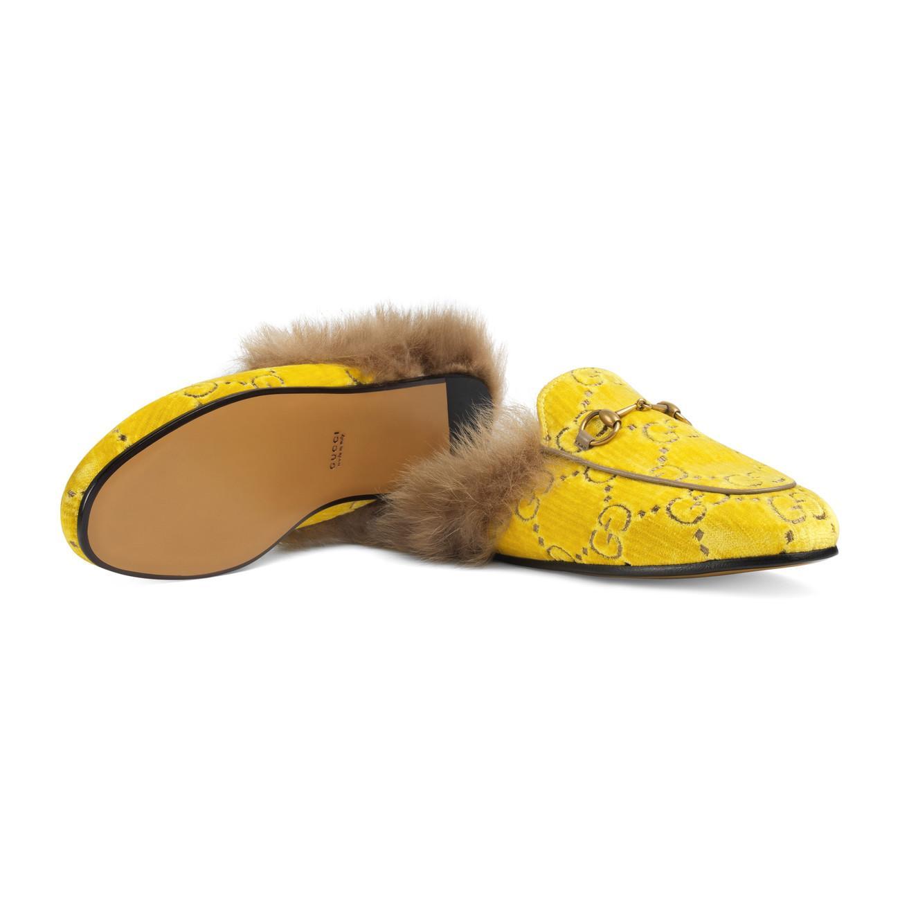 780e7cdf269 Lyst - Gucci Princetown GG Velvet Slipper in Yellow