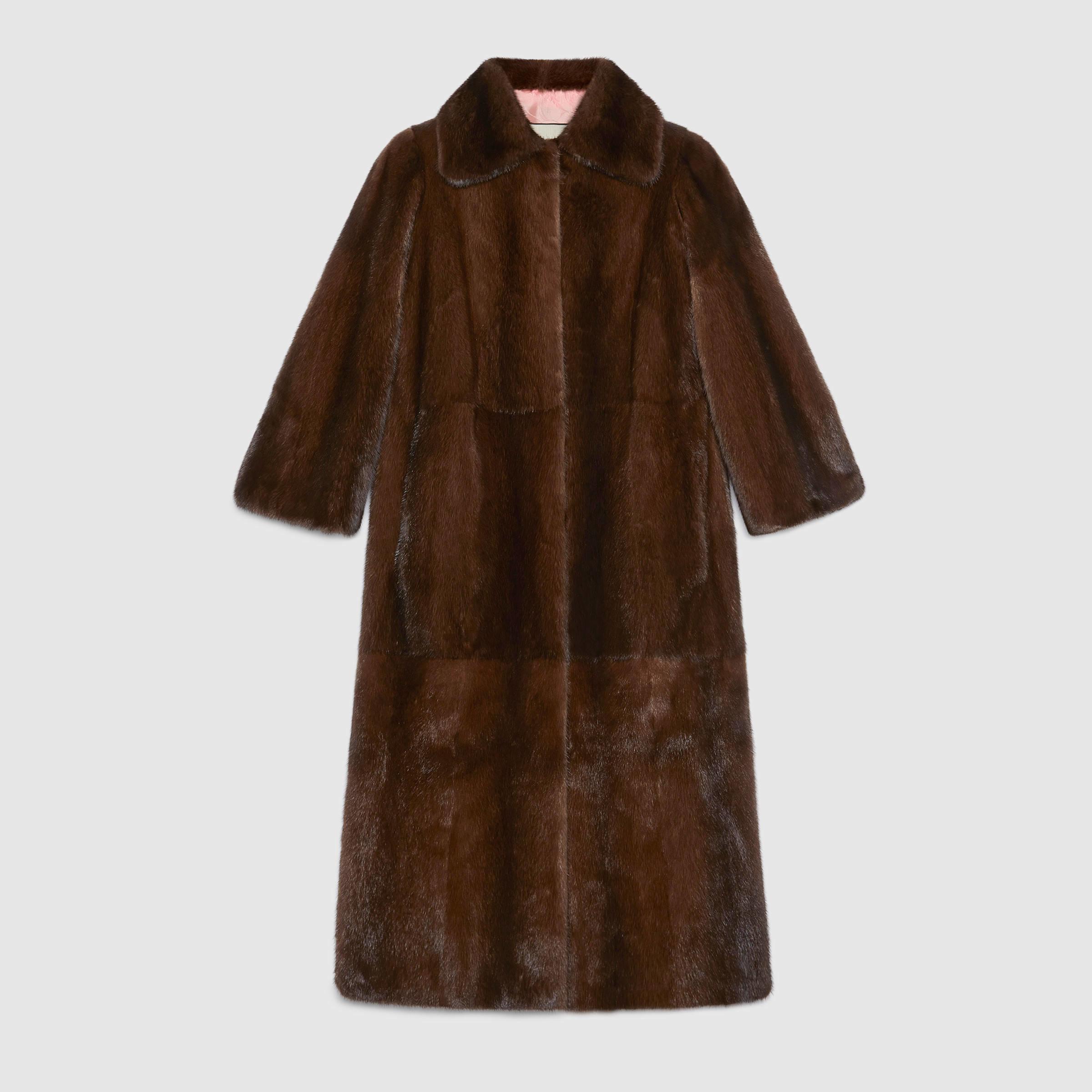 Gucci Tiger Intarsia Mink Coat in Brown