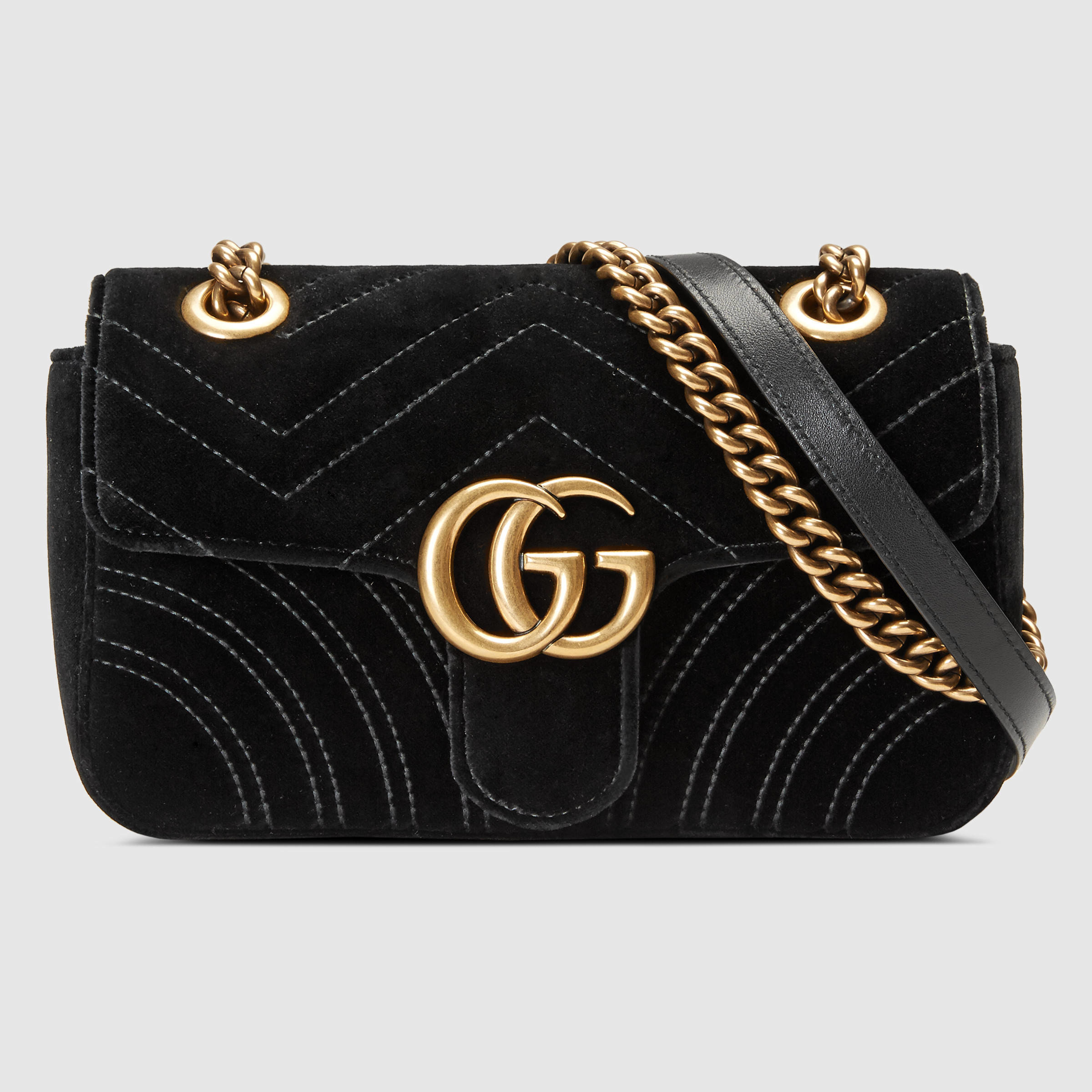 f4a638a16f9b6 Lyst - Gucci GG Marmont Velvet Mini Shoulder Bag in Black