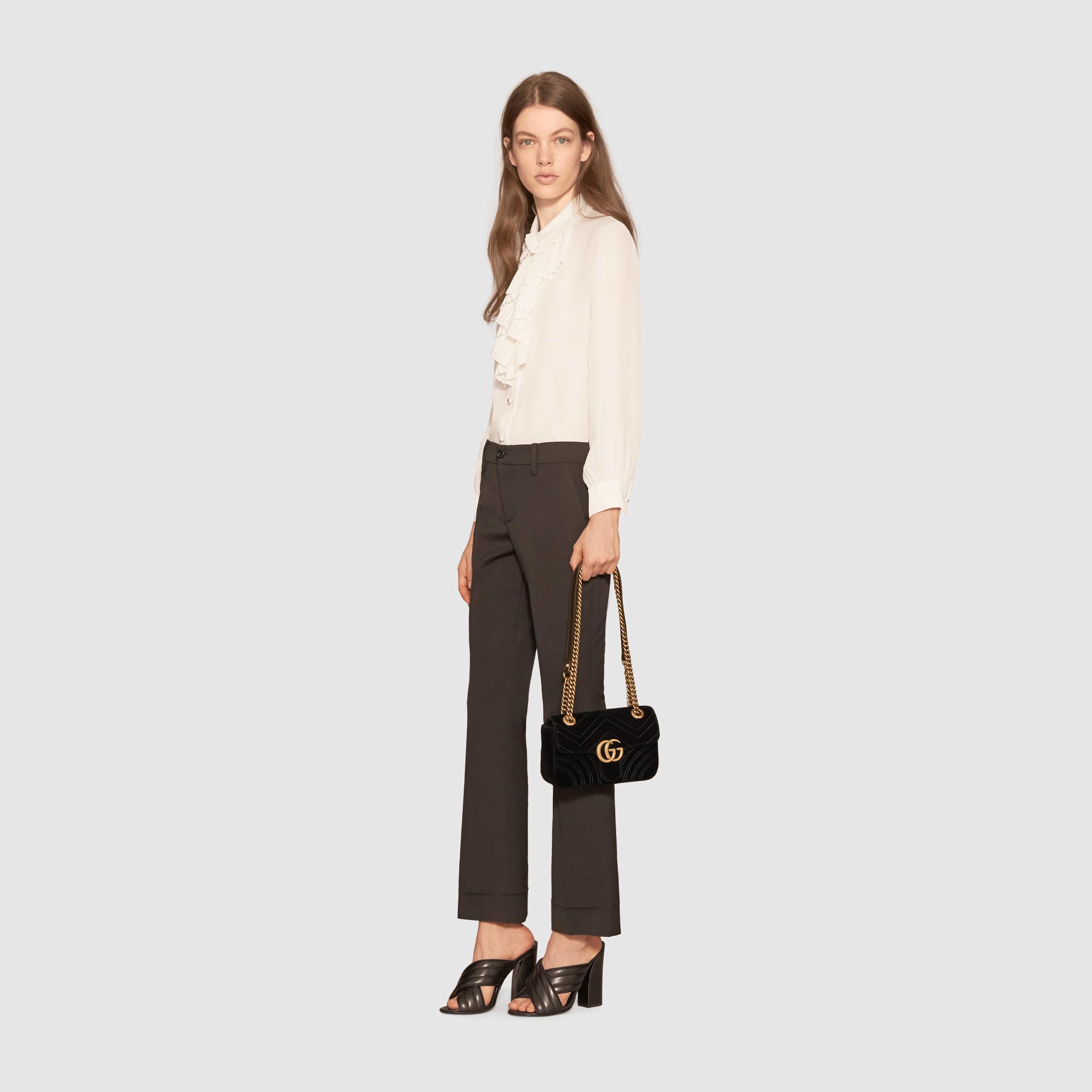 f1e29d7e7ad248 Gucci Gg Marmont Velvet Small Shoulder Bag 447632 Black   IUCN Water