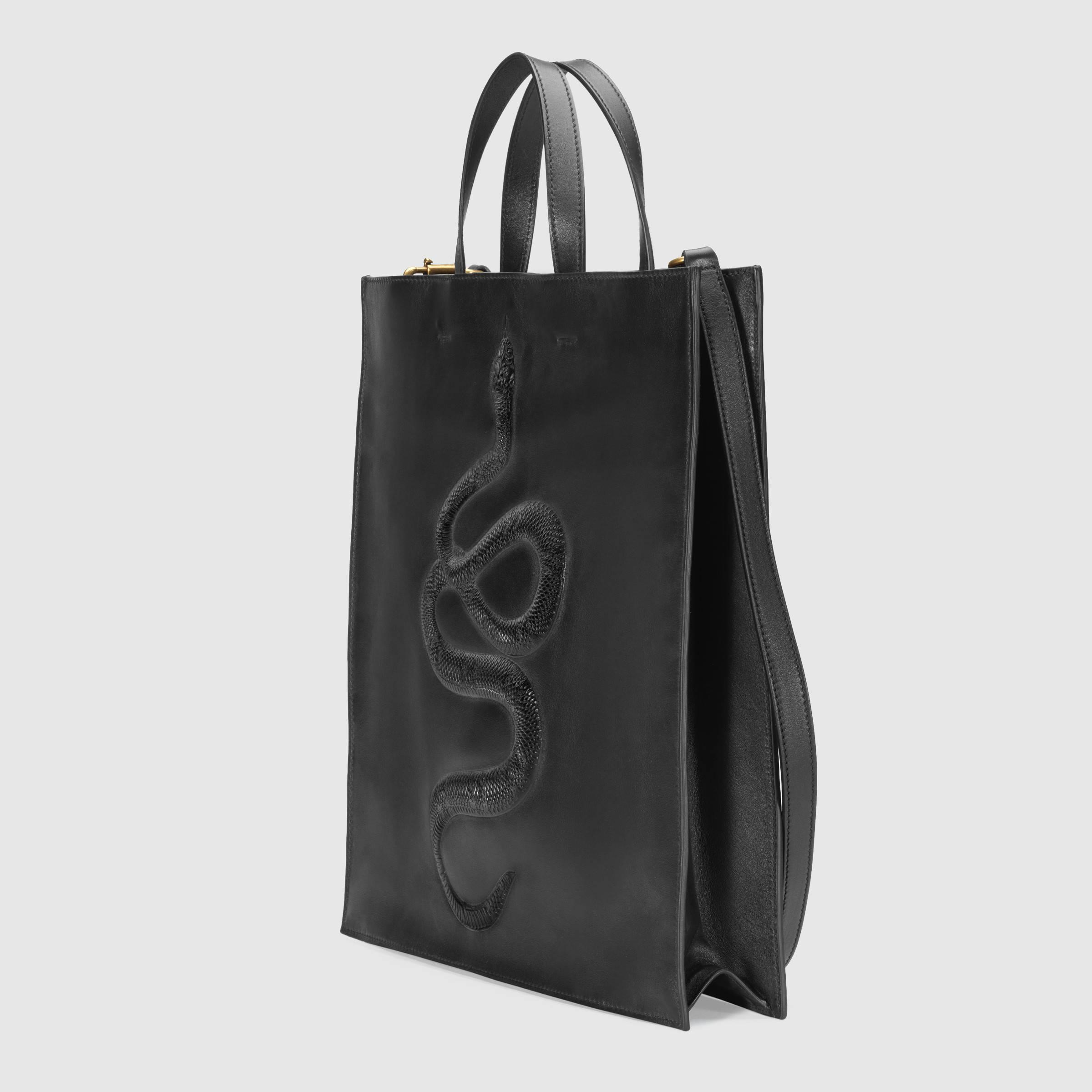Lyst - Gucci Snake Embossed Leather Soft Tote ccd2e5512e