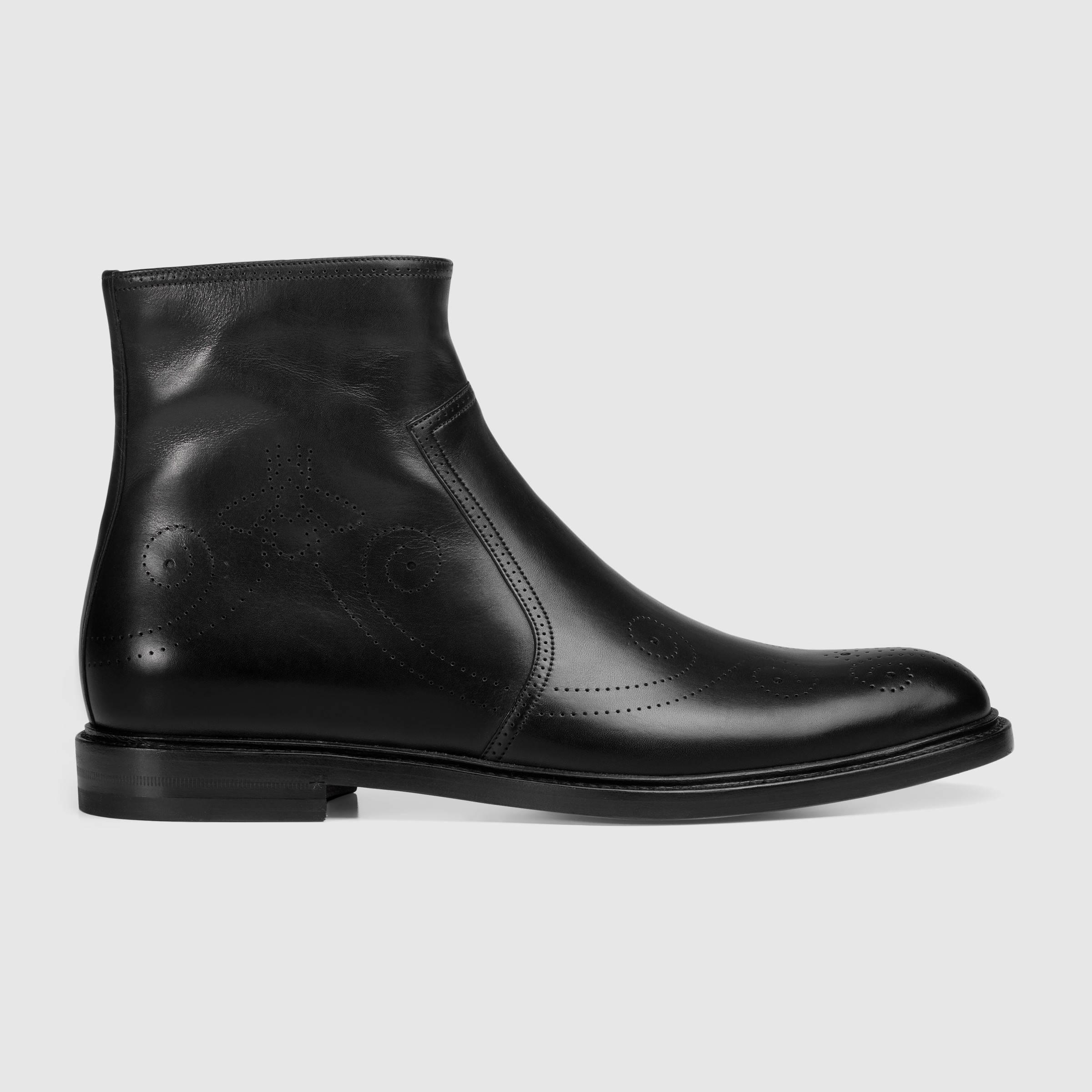 def834702a3 Lyst - Gucci Leather Bee Brogue Boot in Black for Men