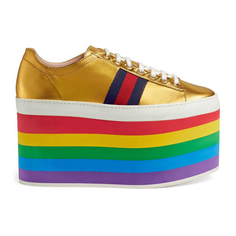 2a5030b1f Gucci Peggy Rainbow Platform Leather Sneakers - Lyst