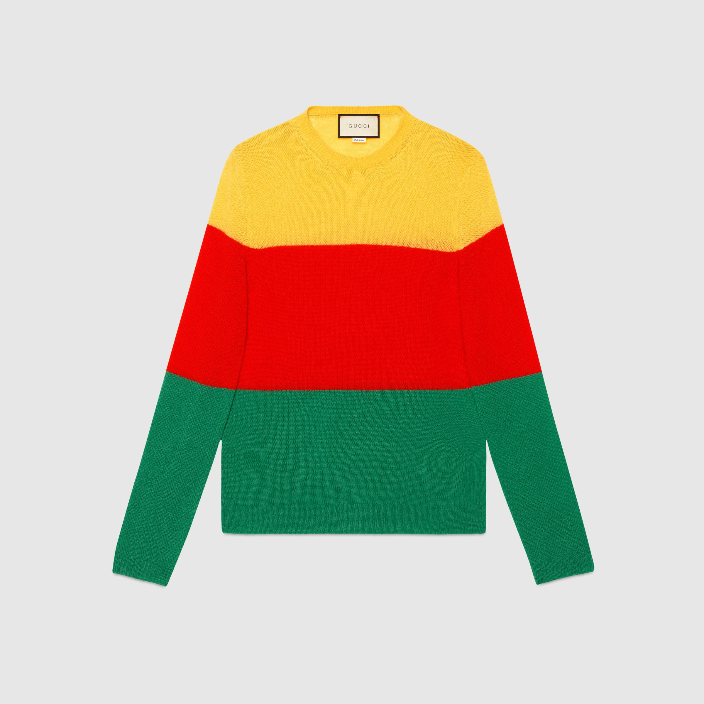 Gucci Cashmere Striped Crew Neck Sweater in Green for Men | Lyst