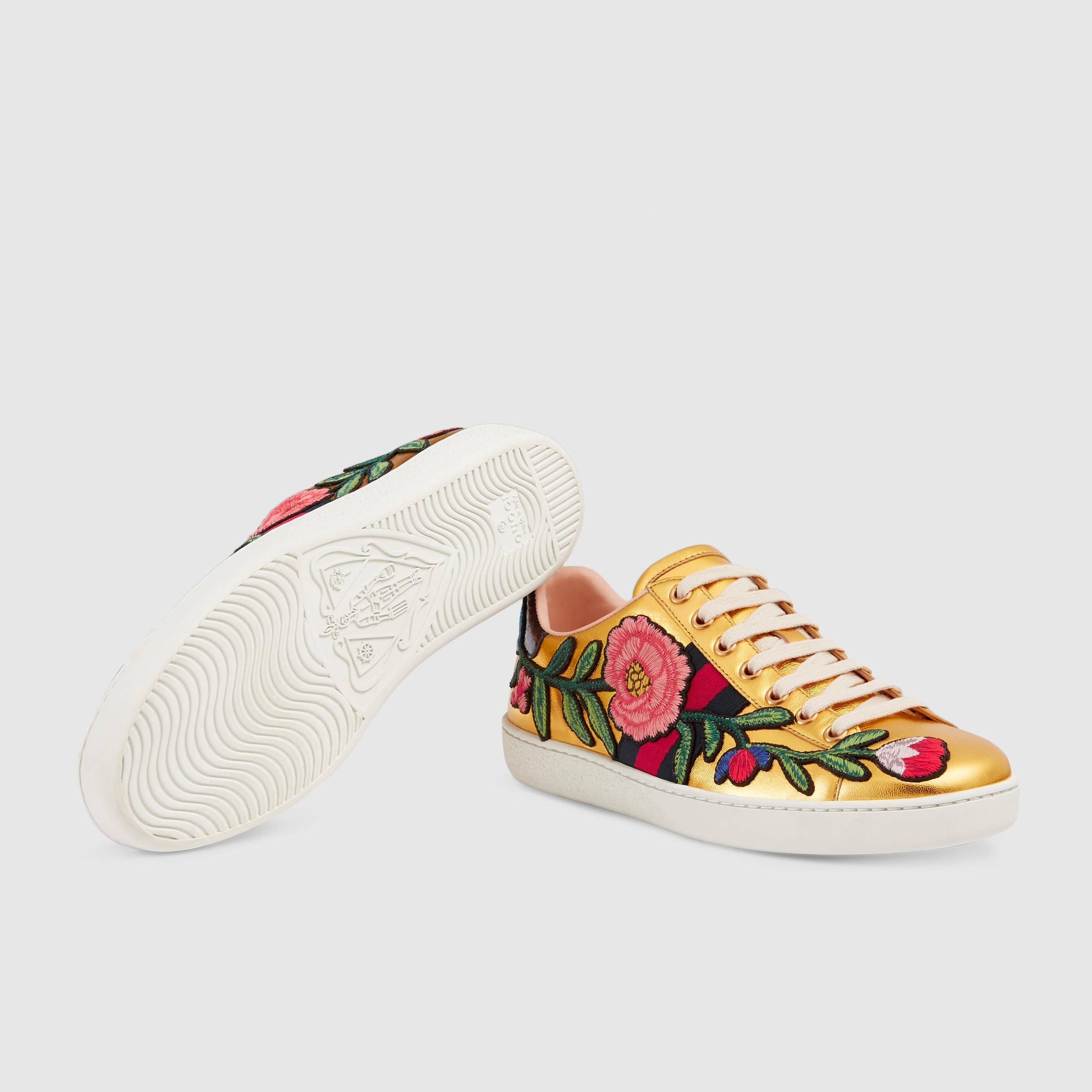 58507b403 Gucci Ace Embroidered Low-Top Sneaker in Brown - Lyst