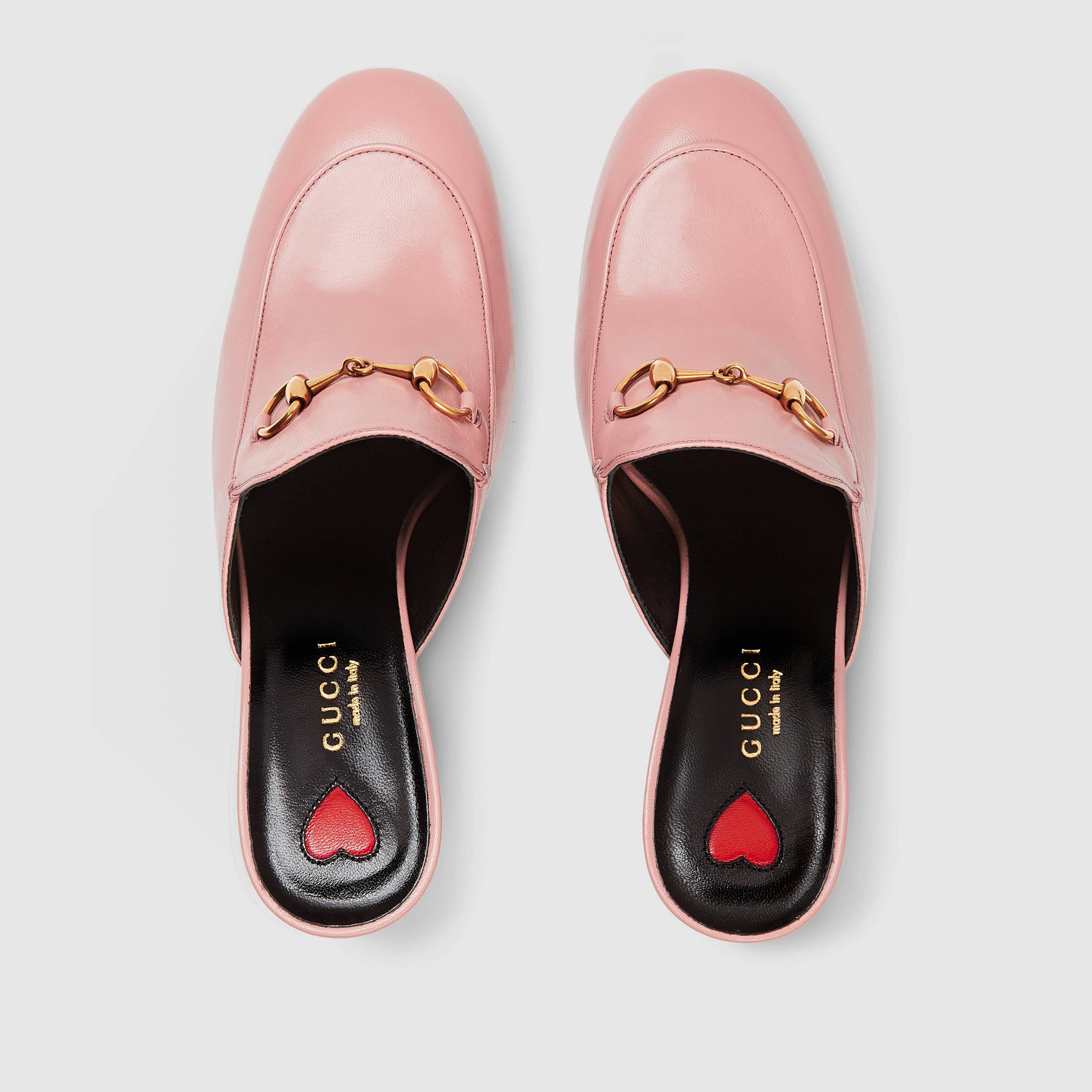 e8e2c835626 Lyst - Gucci Princetown Leather Mules in Pink